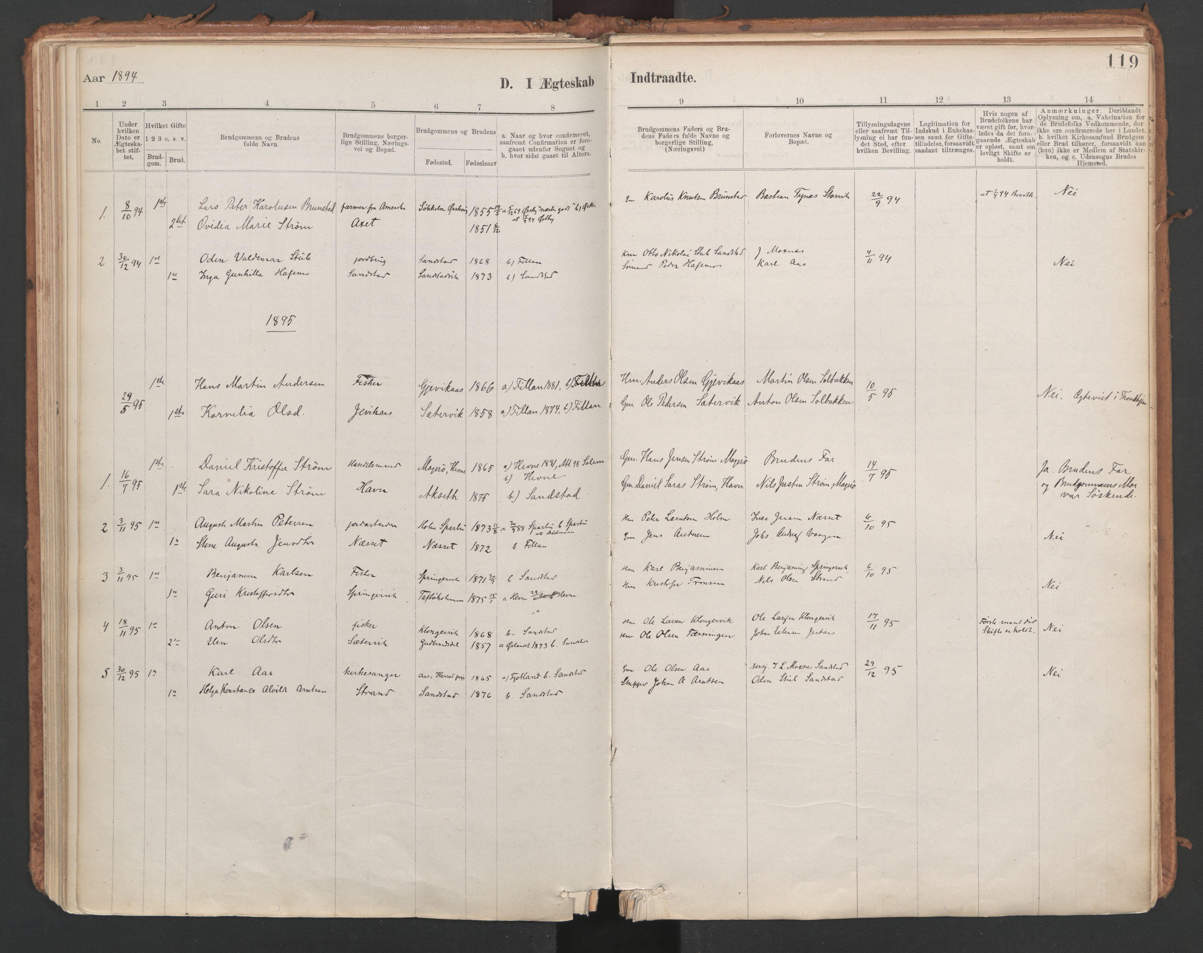 SAT, Ministerialprotokoller, klokkerbøker og fødselsregistre - Sør-Trøndelag, 639/L0572: Ministerialbok nr. 639A01, 1890-1920, s. 119