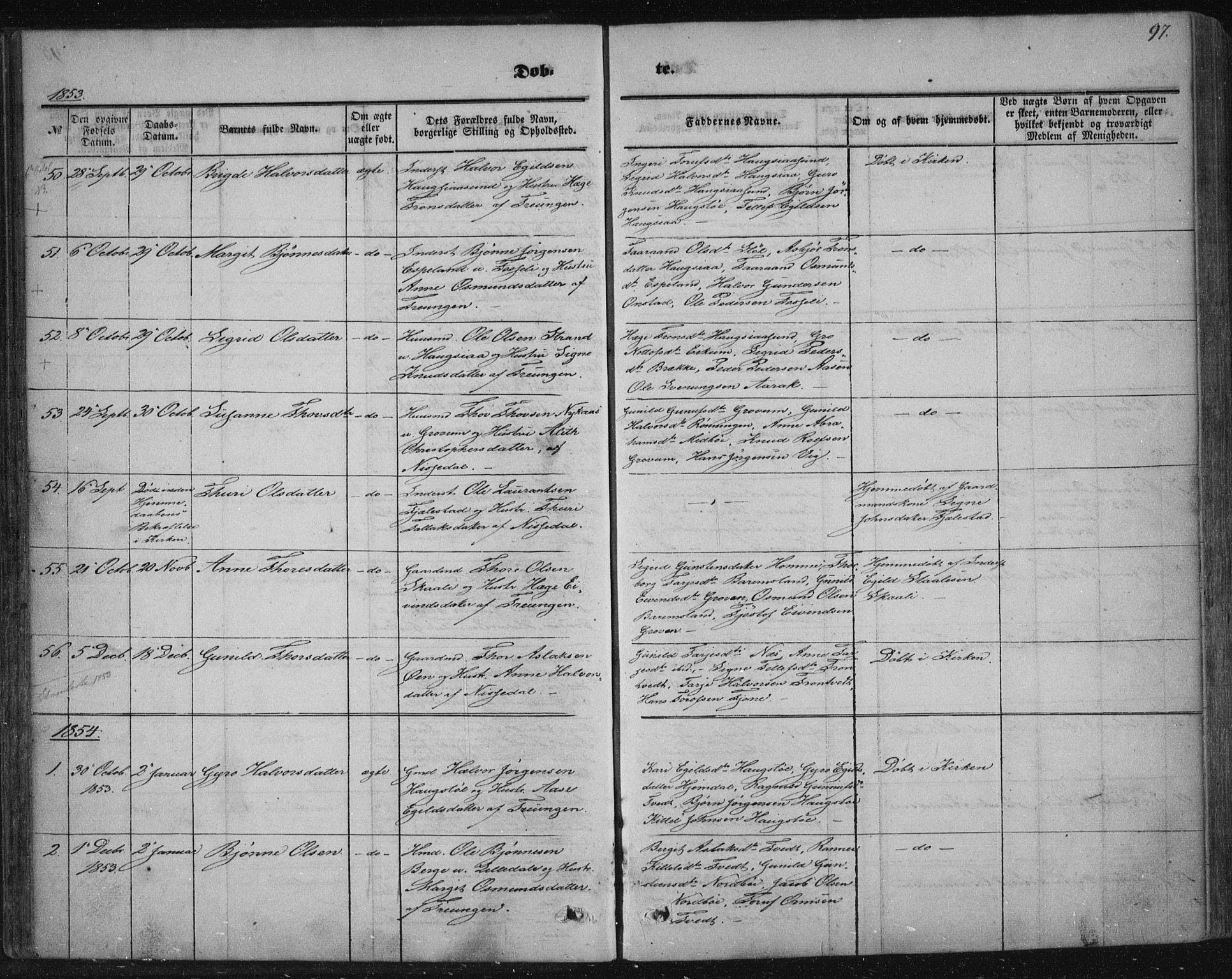 SAKO, Nissedal kirkebøker, F/Fa/L0003: Ministerialbok nr. I 3, 1846-1870, s. 96-97