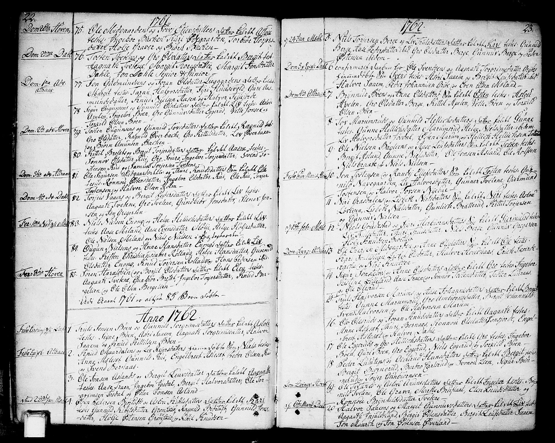 SAKO, Tinn kirkebøker, F/Fa/L0002: Ministerialbok nr. I 2, 1757-1810, s. 22-23