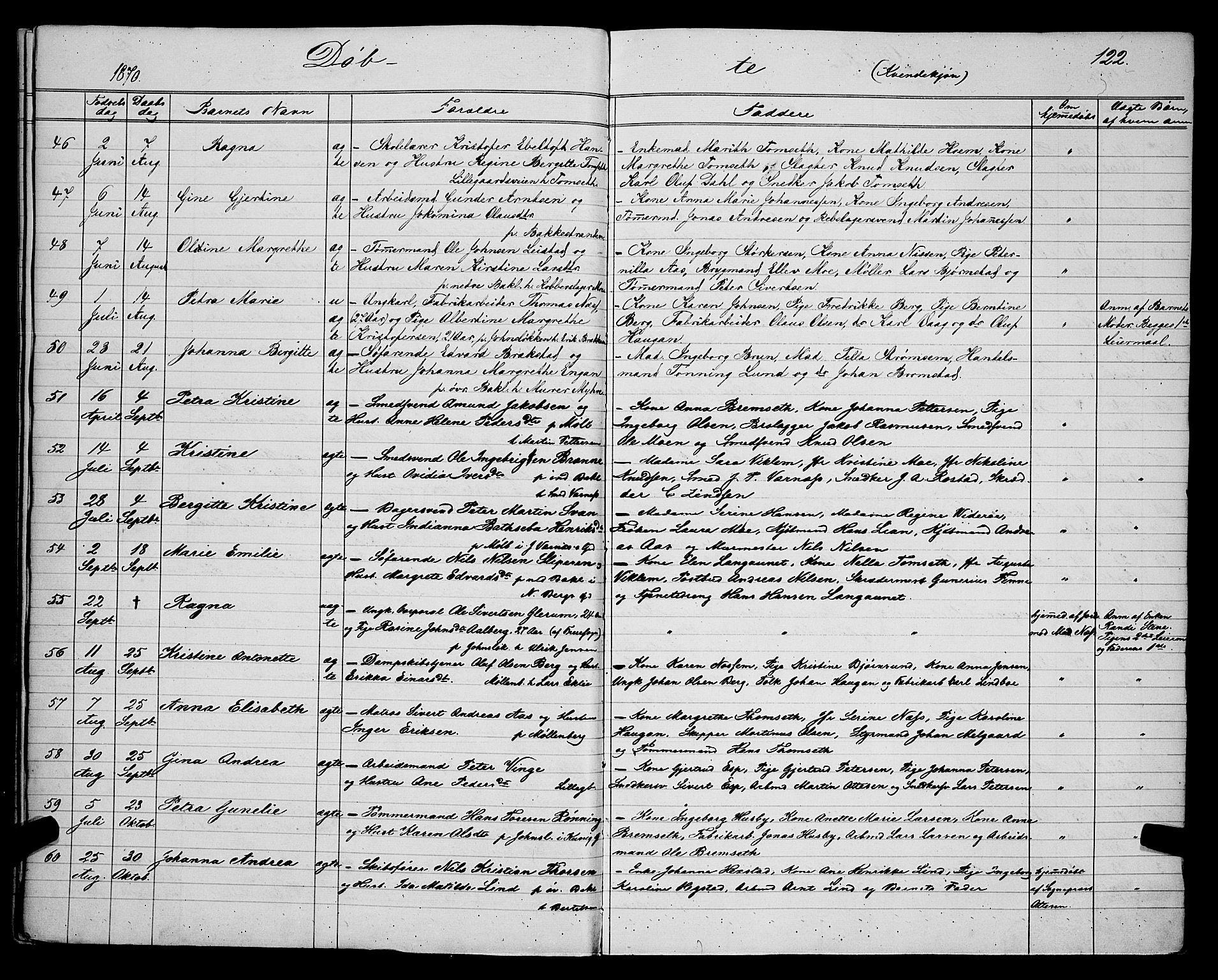 SAT, Ministerialprotokoller, klokkerbøker og fødselsregistre - Sør-Trøndelag, 604/L0220: Klokkerbok nr. 604C03, 1870-1885, s. 122