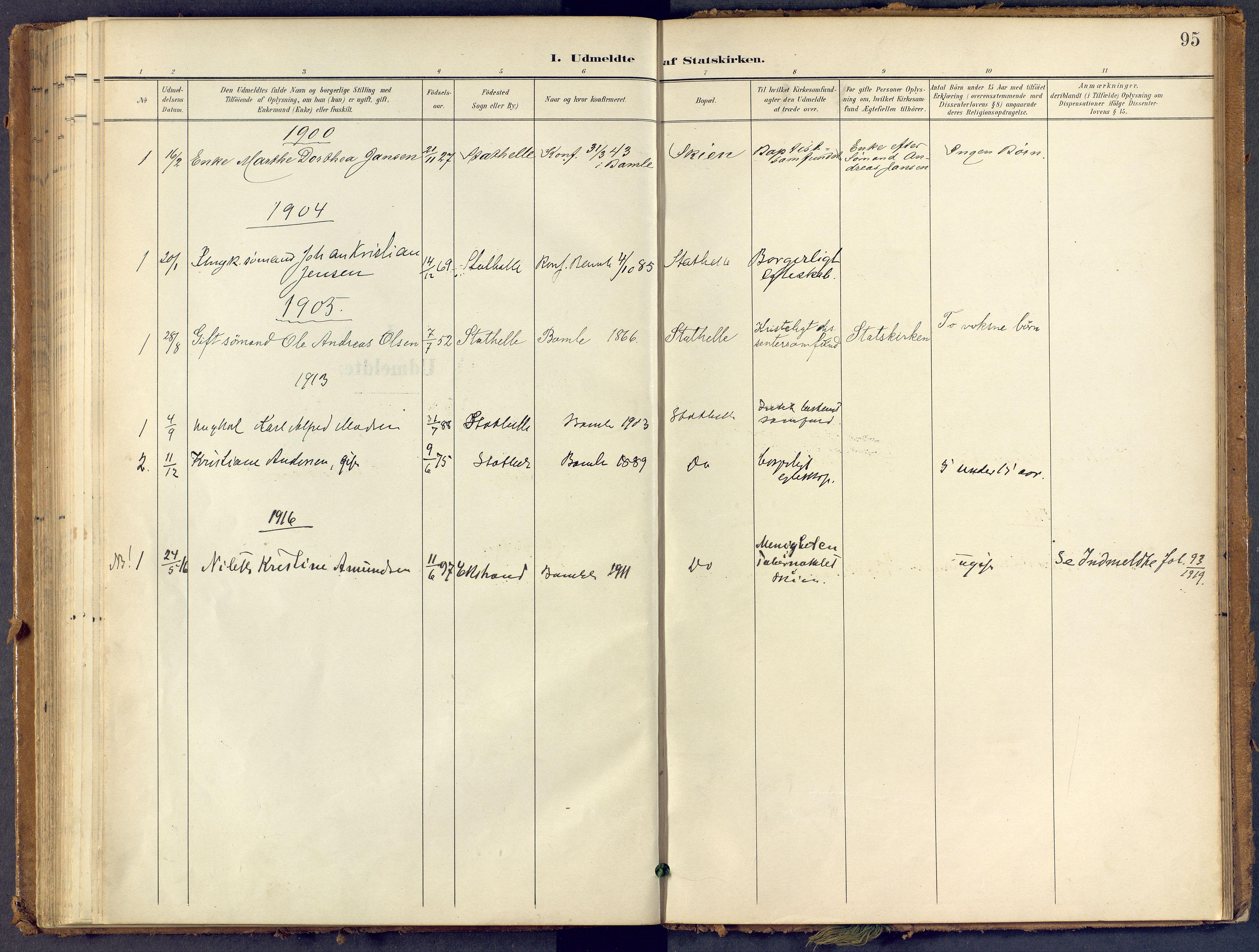 SAKO, Bamble kirkebøker, F/Fb/L0002: Ministerialbok nr. II 2, 1900-1921, s. 95
