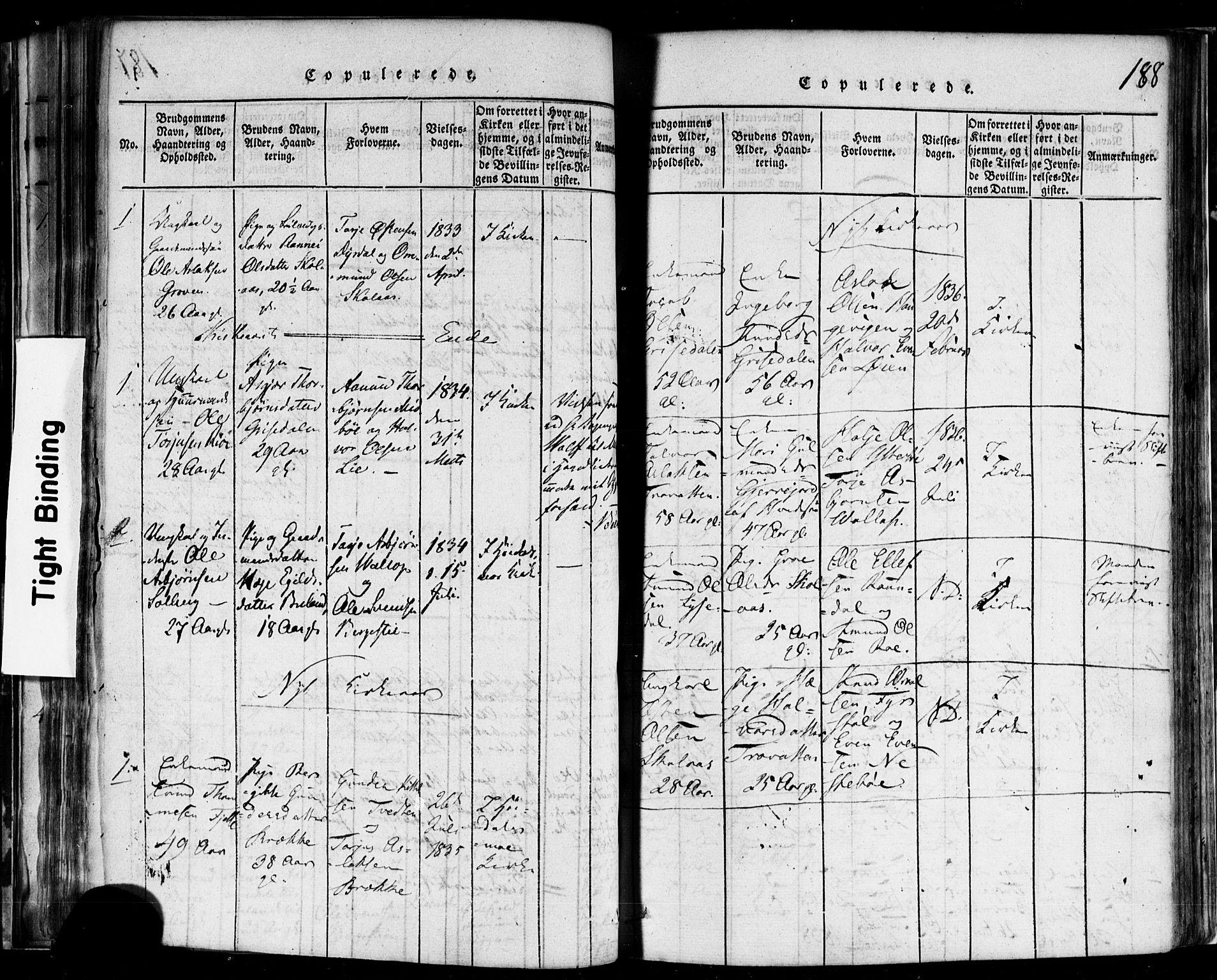 SAKO, Rauland kirkebøker, F/Fa/L0002: Ministerialbok nr. 2, 1815-1860, s. 188