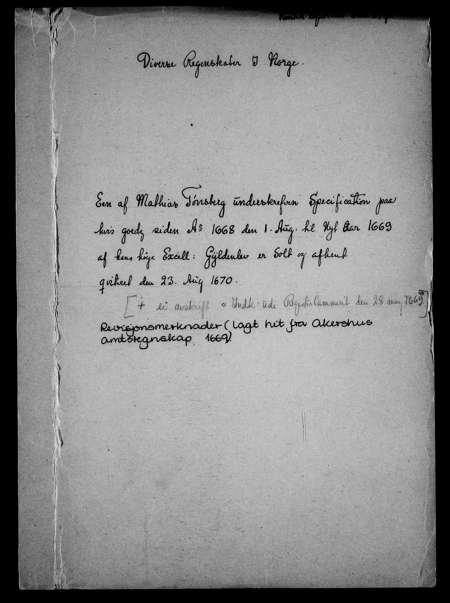 RA, Rentekammeret inntil 1814, Realistisk ordnet avdeling, On/L0010: [Jj 11]: Salg av krongods i Norge, 1661-1704, s. 386
