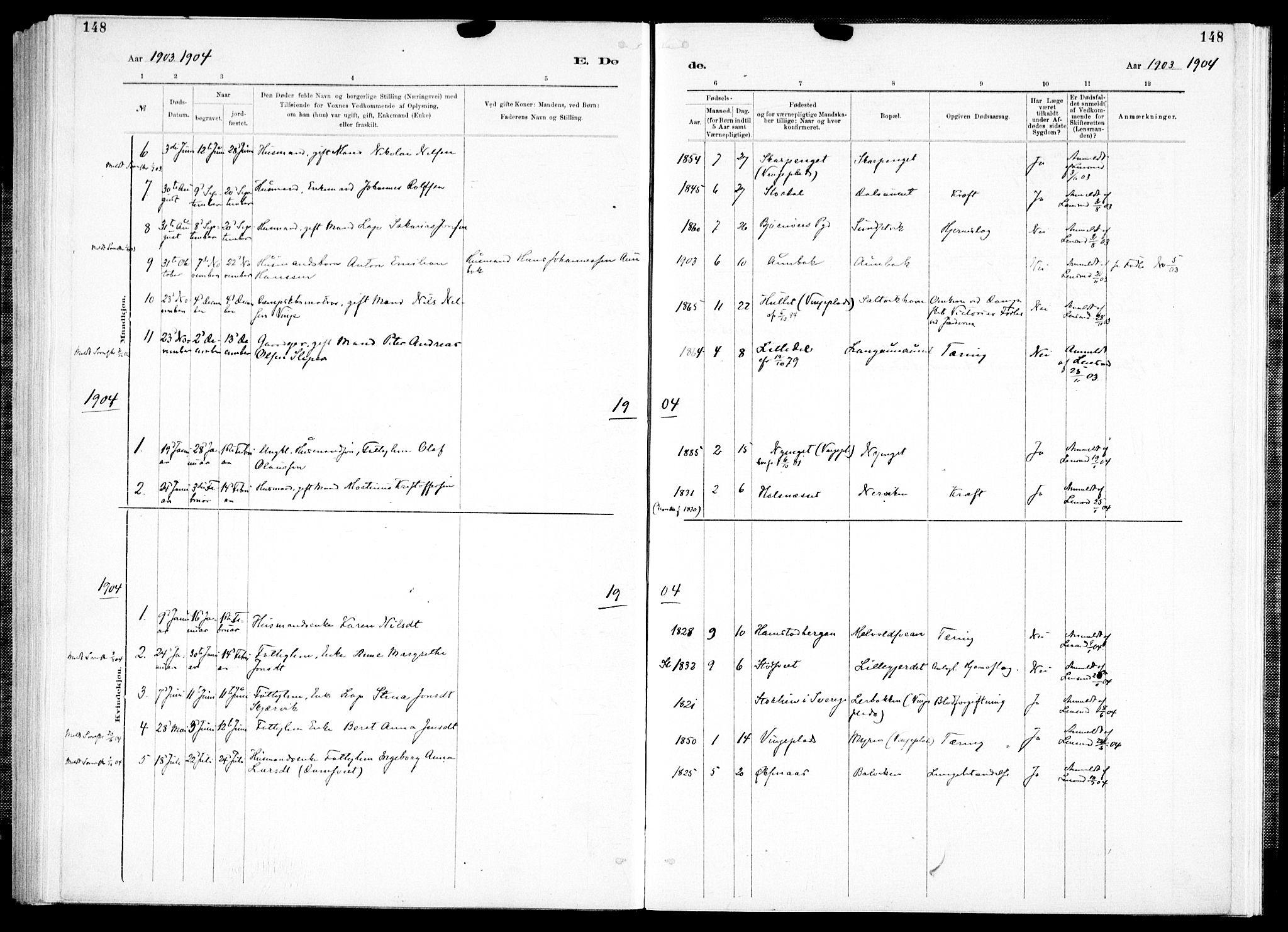 SAT, Ministerialprotokoller, klokkerbøker og fødselsregistre - Nord-Trøndelag, 733/L0325: Ministerialbok nr. 733A04, 1884-1908, s. 148