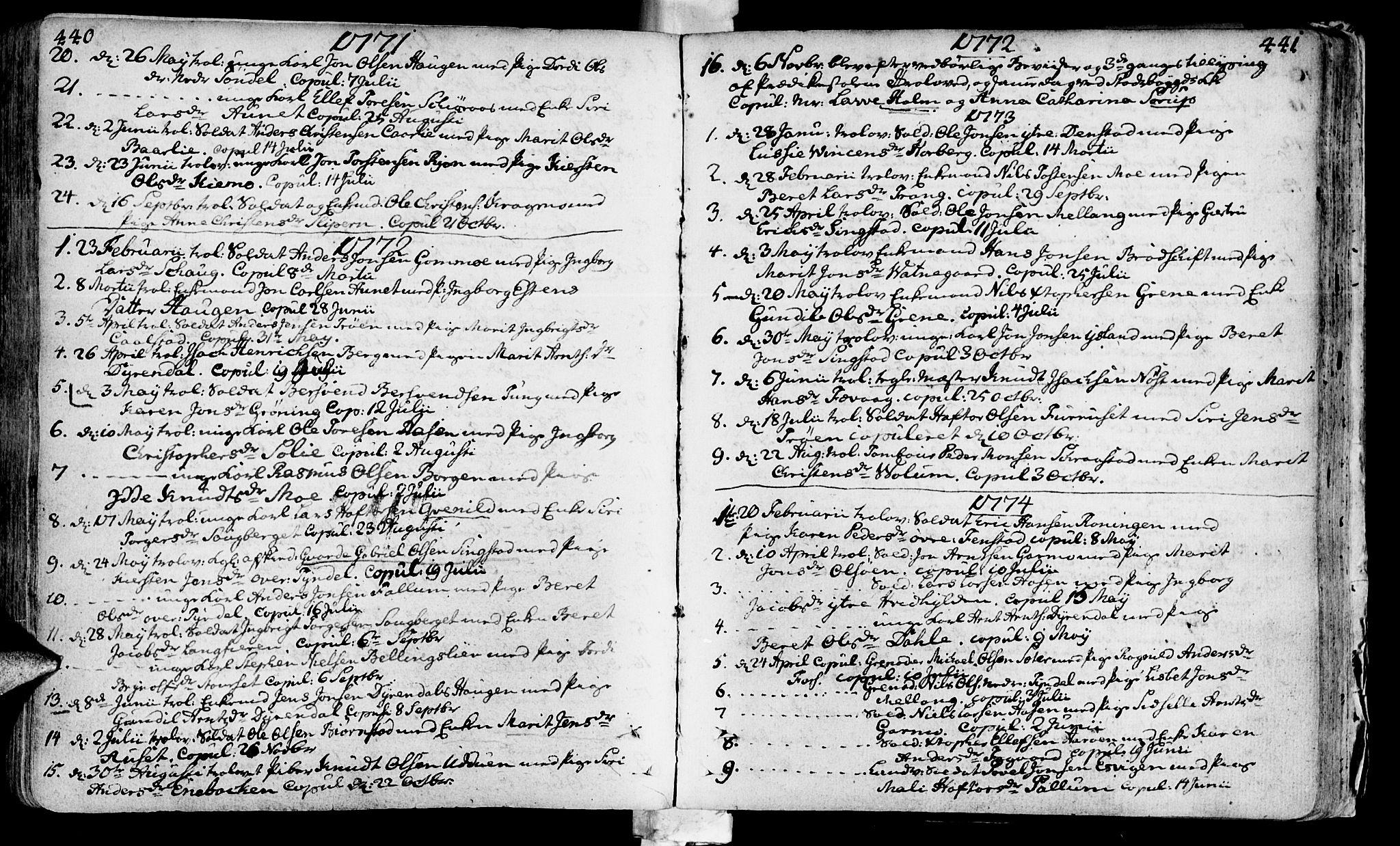 SAT, Ministerialprotokoller, klokkerbøker og fødselsregistre - Sør-Trøndelag, 646/L0605: Ministerialbok nr. 646A03, 1751-1790, s. 440-441
