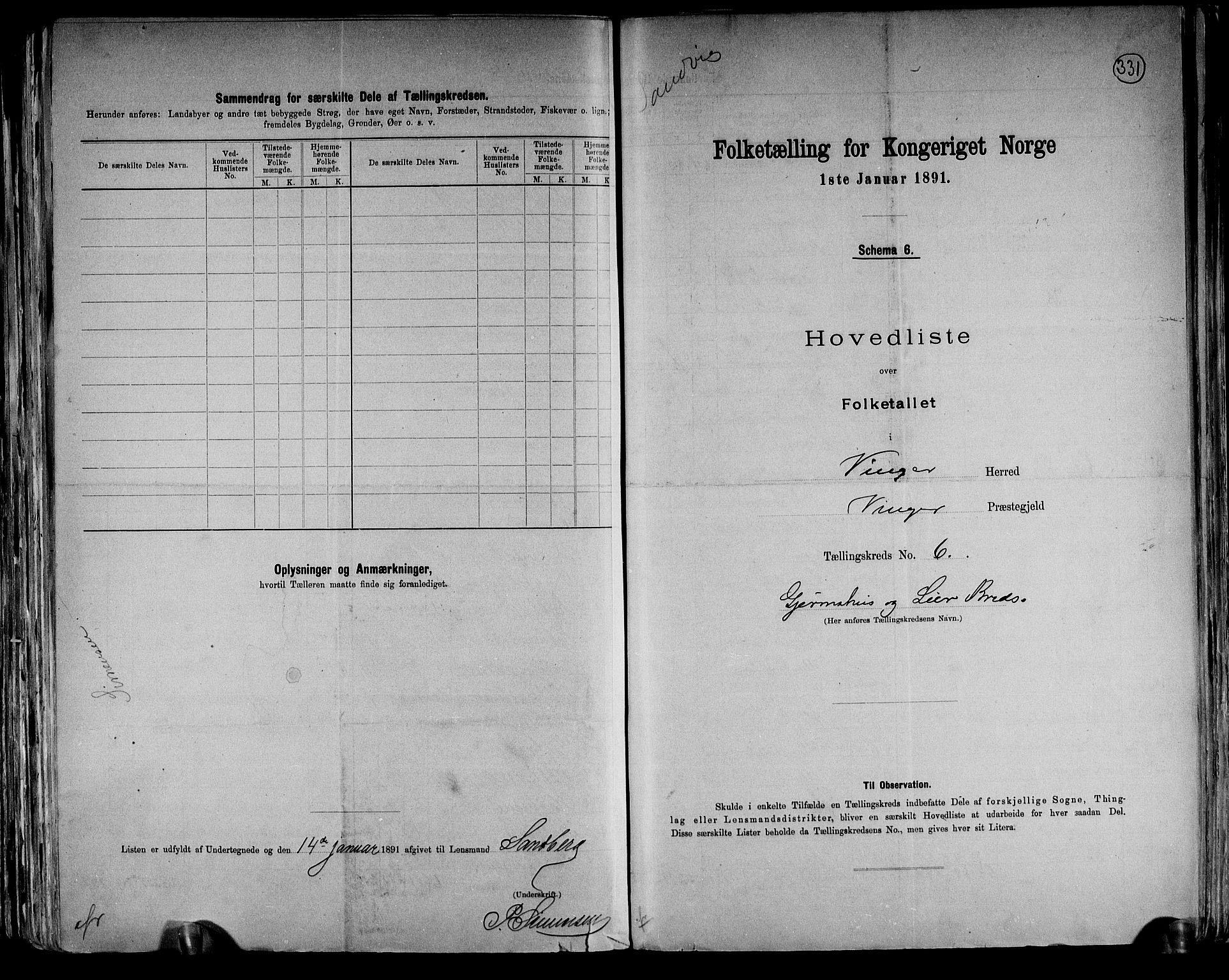 RA, Folketelling 1891 for 0421 Vinger herred, 1891, s. 14