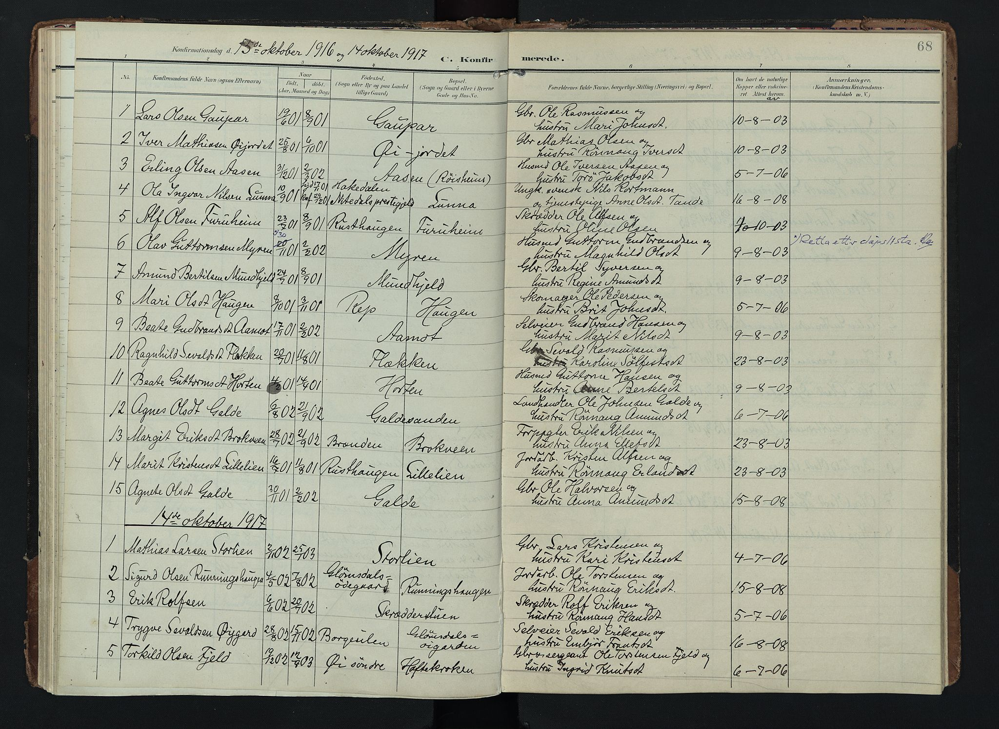 SAH, Lom prestekontor, K/L0012: Ministerialbok nr. 12, 1904-1928, s. 68
