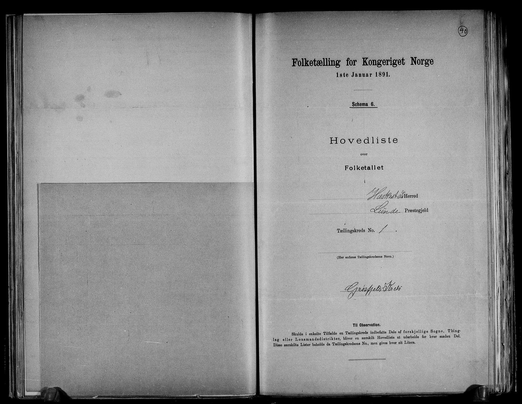 RA, Folketelling 1891 for 1113 Heskestad herred, 1891, s. 5