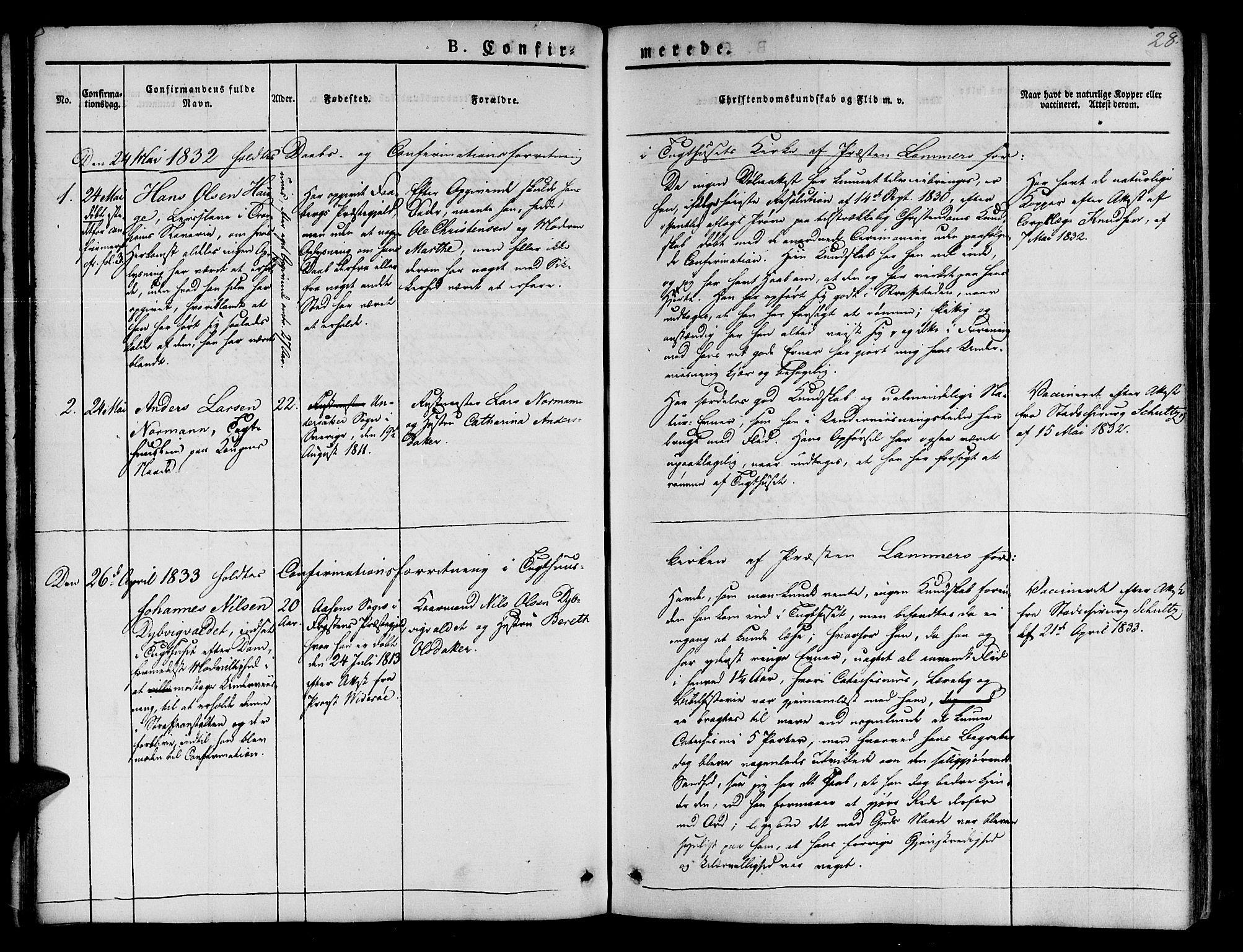 SAT, Ministerialprotokoller, klokkerbøker og fødselsregistre - Sør-Trøndelag, 623/L0468: Ministerialbok nr. 623A02, 1826-1867, s. 28