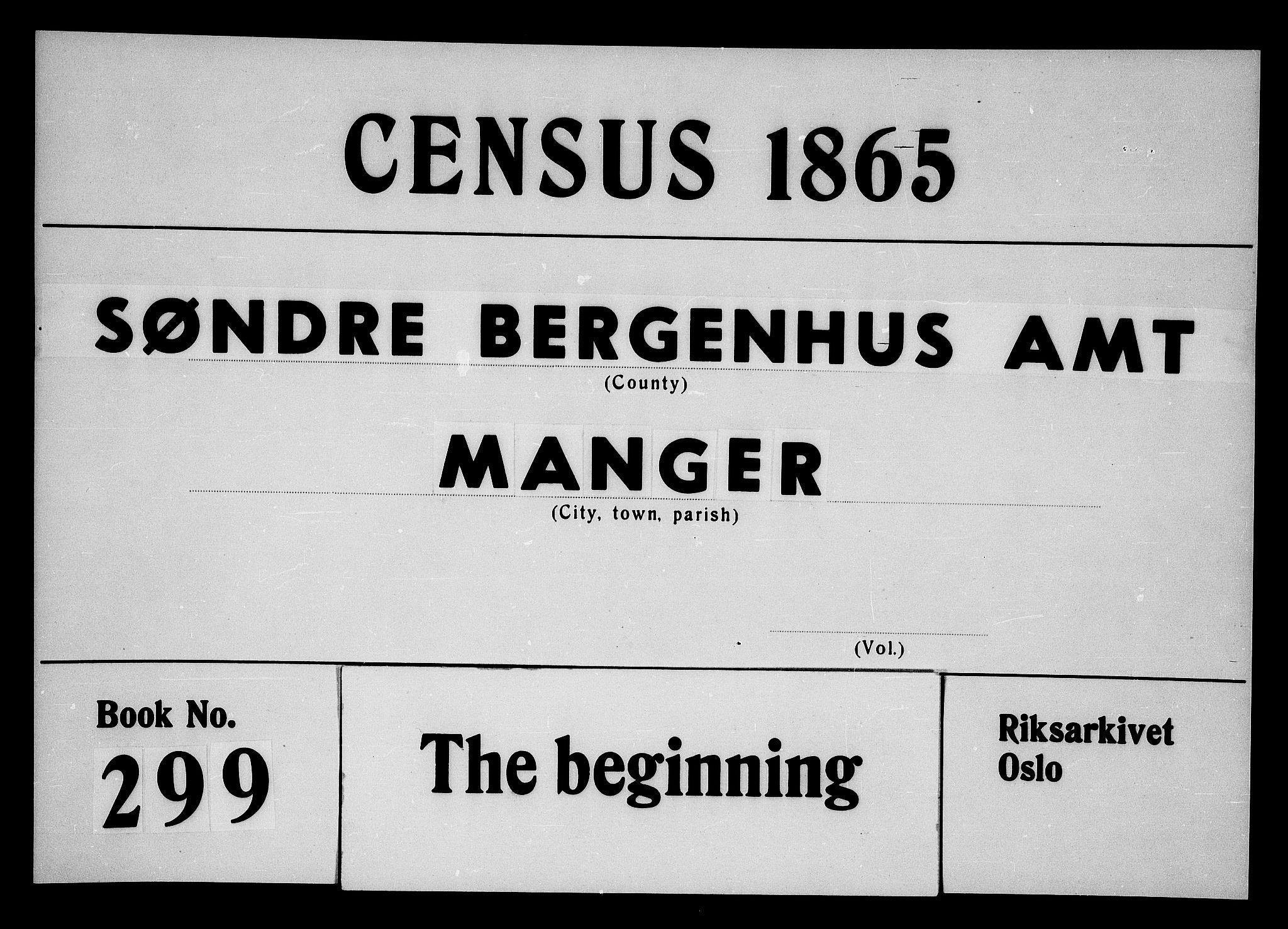 RA, Folketelling 1865 for 1261P Manger prestegjeld, 1865, s. 1
