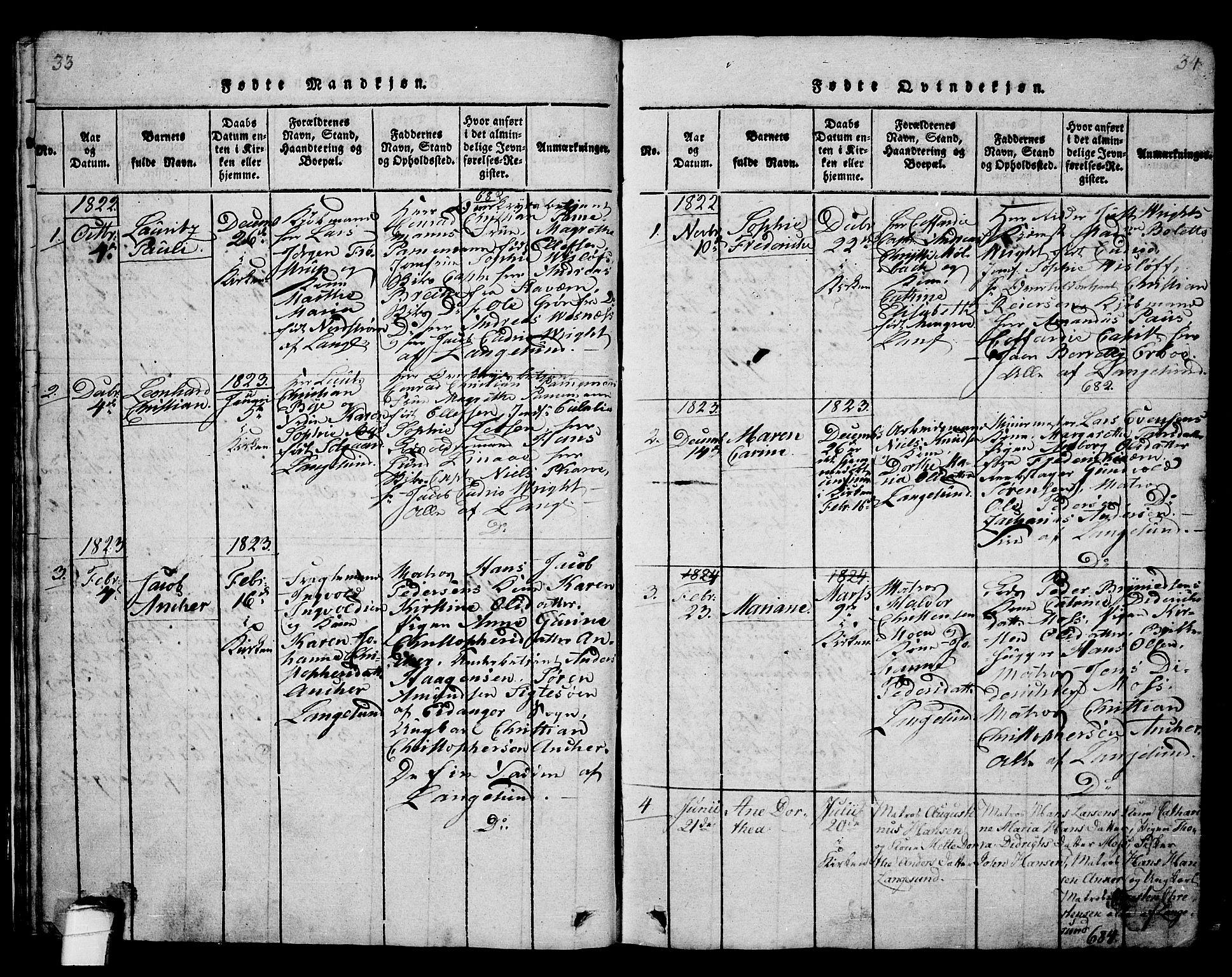 SAKO, Langesund kirkebøker, G/Ga/L0003: Klokkerbok nr. 3, 1815-1858, s. 33-34