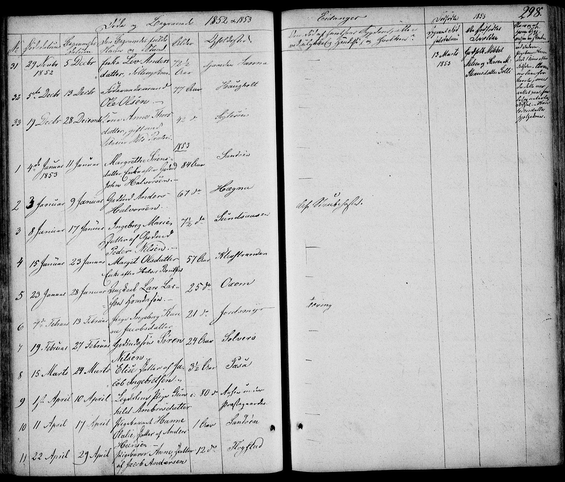 SAKO, Eidanger kirkebøker, F/Fa/L0008: Ministerialbok nr. 8, 1831-1858, s. 298