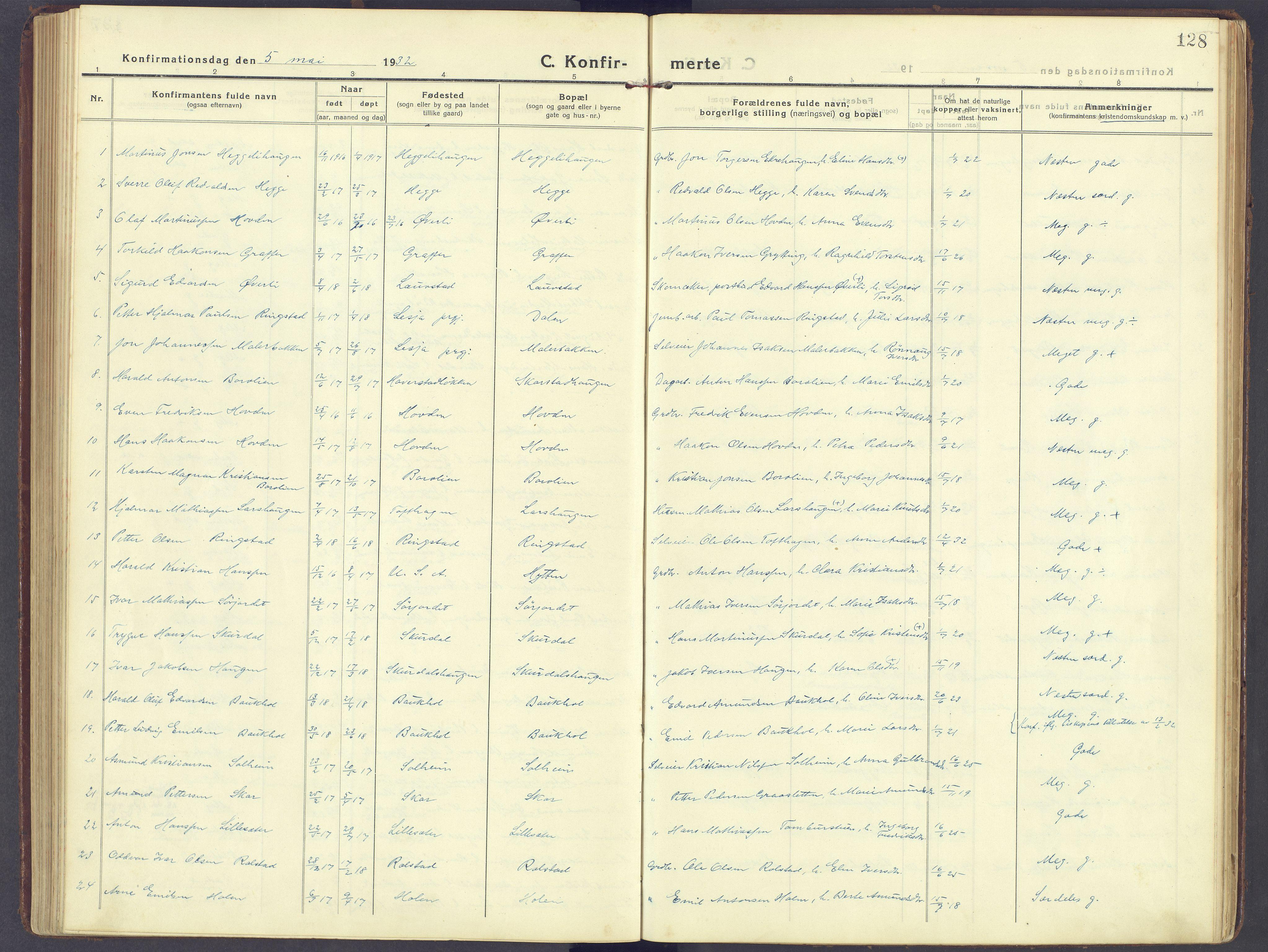 SAH, Sør-Fron prestekontor, H/Ha/Haa/L0005: Ministerialbok nr. 5, 1920-1933, s. 128