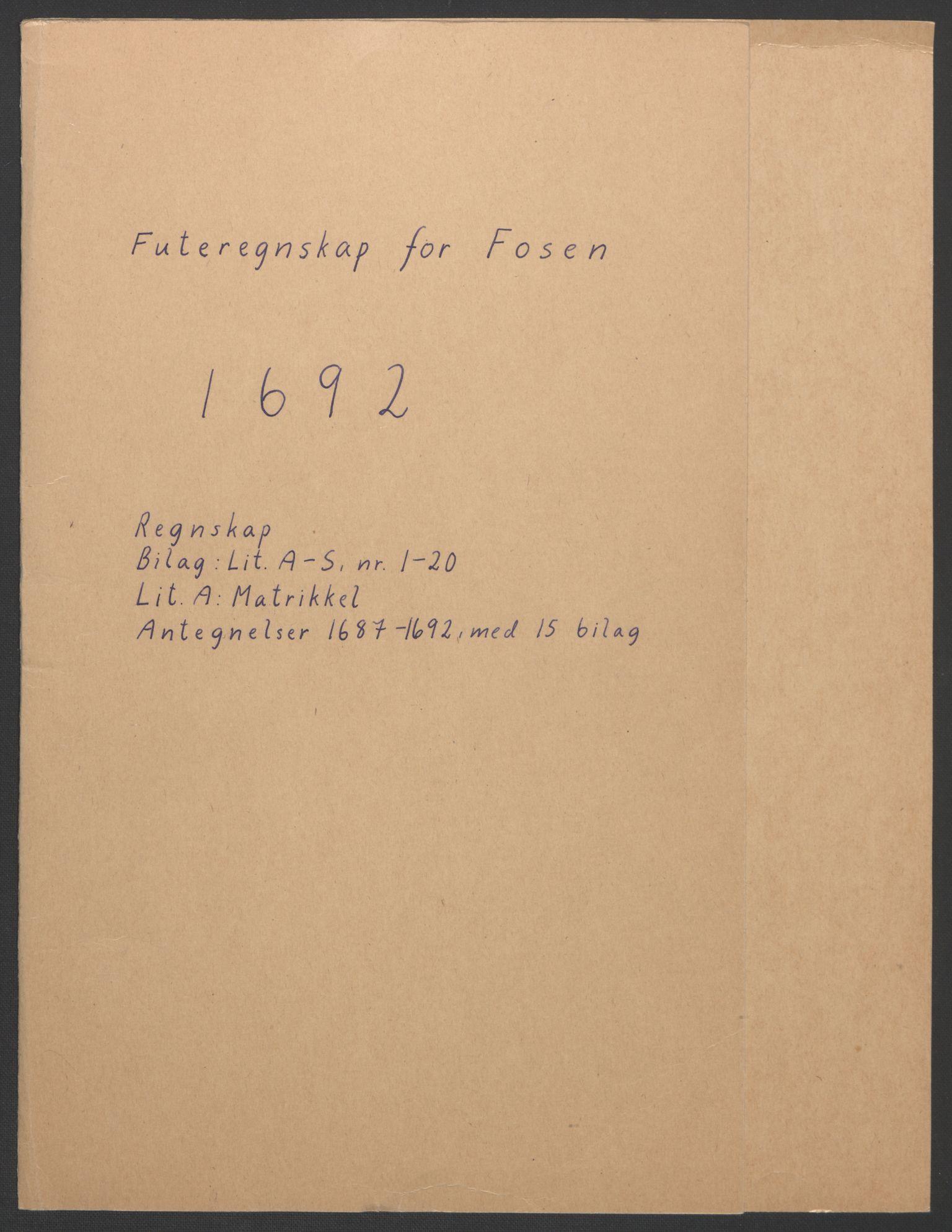 RA, Rentekammeret inntil 1814, Reviderte regnskaper, Fogderegnskap, R57/L3849: Fogderegnskap Fosen, 1692-1693, s. 2