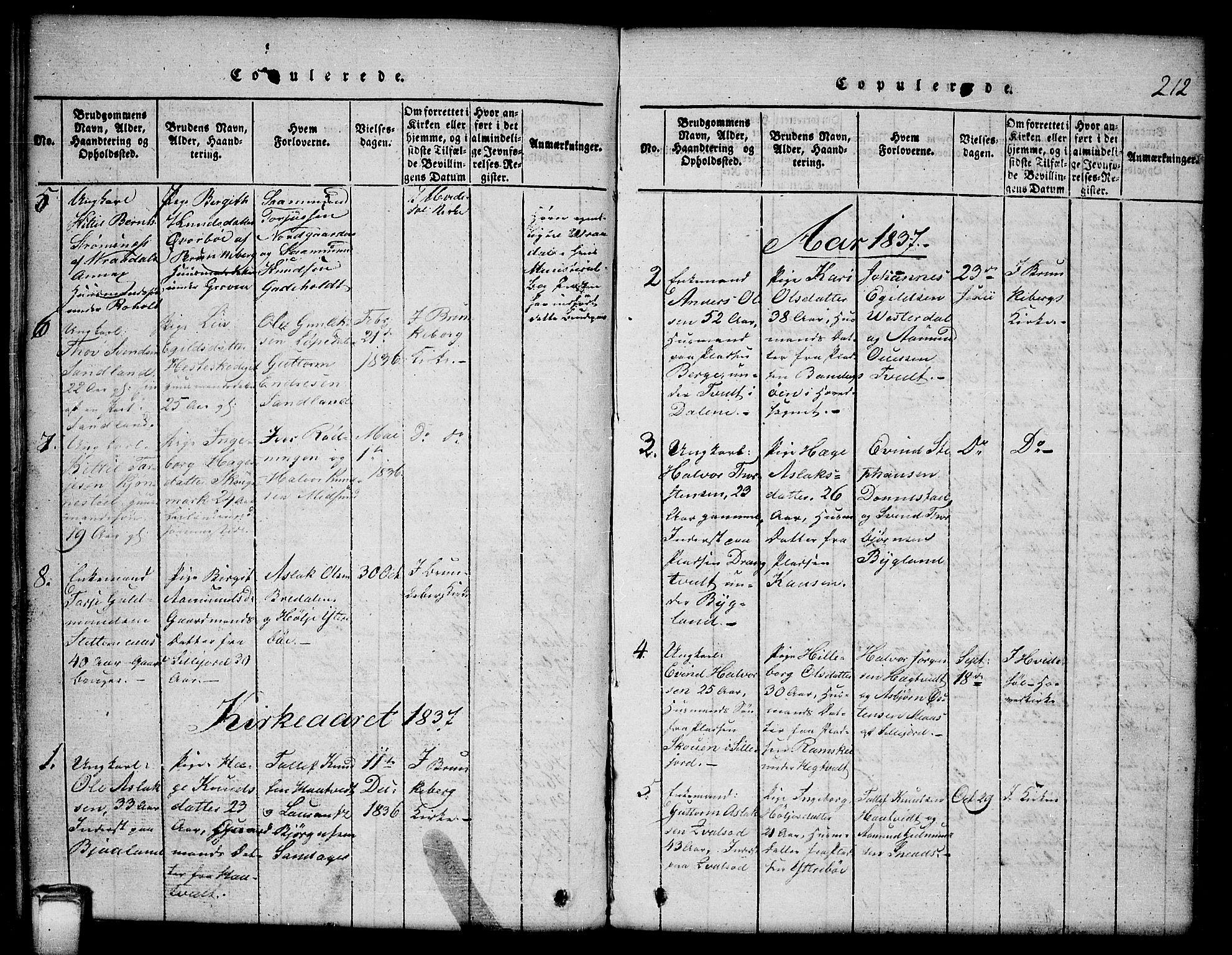 SAKO, Kviteseid kirkebøker, G/Gb/L0001: Klokkerbok nr. II 1, 1815-1842, s. 212