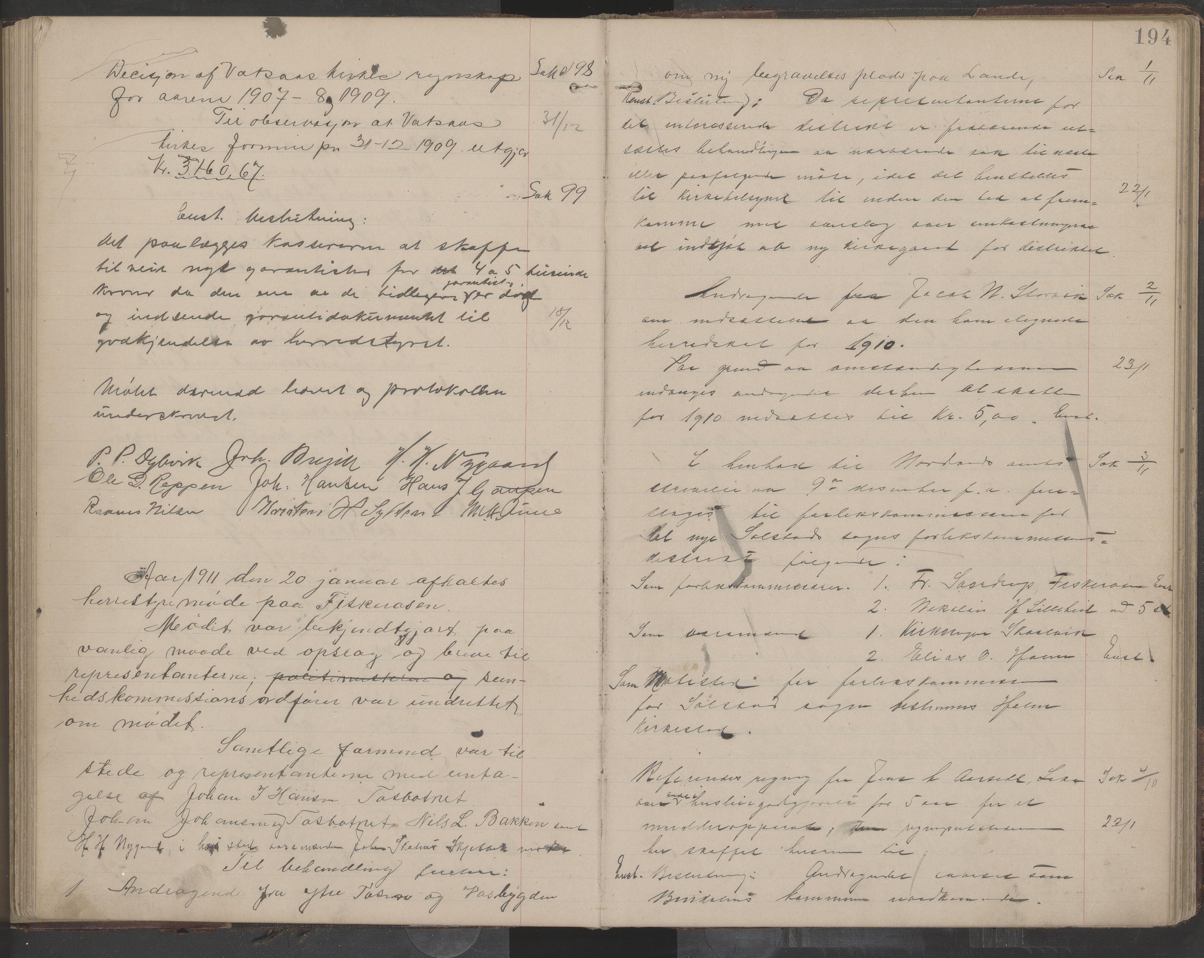 AIN, Bindal kommune. Formannskapet, A/Aa/L0000e: Møtebok, 1903-1914, s. 194