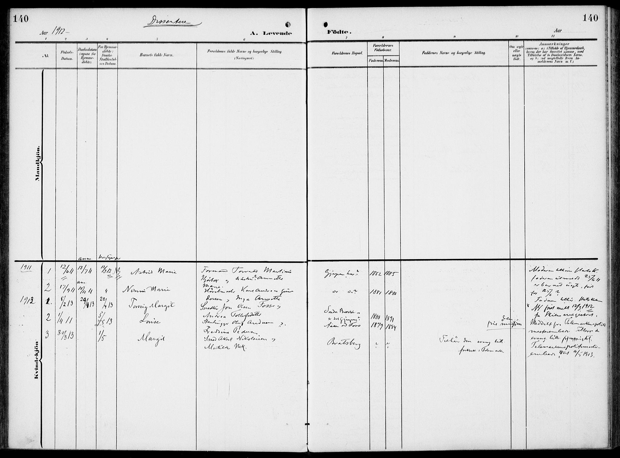 SAKO, Gjerpen kirkebøker, F/Fa/L0012: Ministerialbok nr. 12, 1905-1913, s. 140