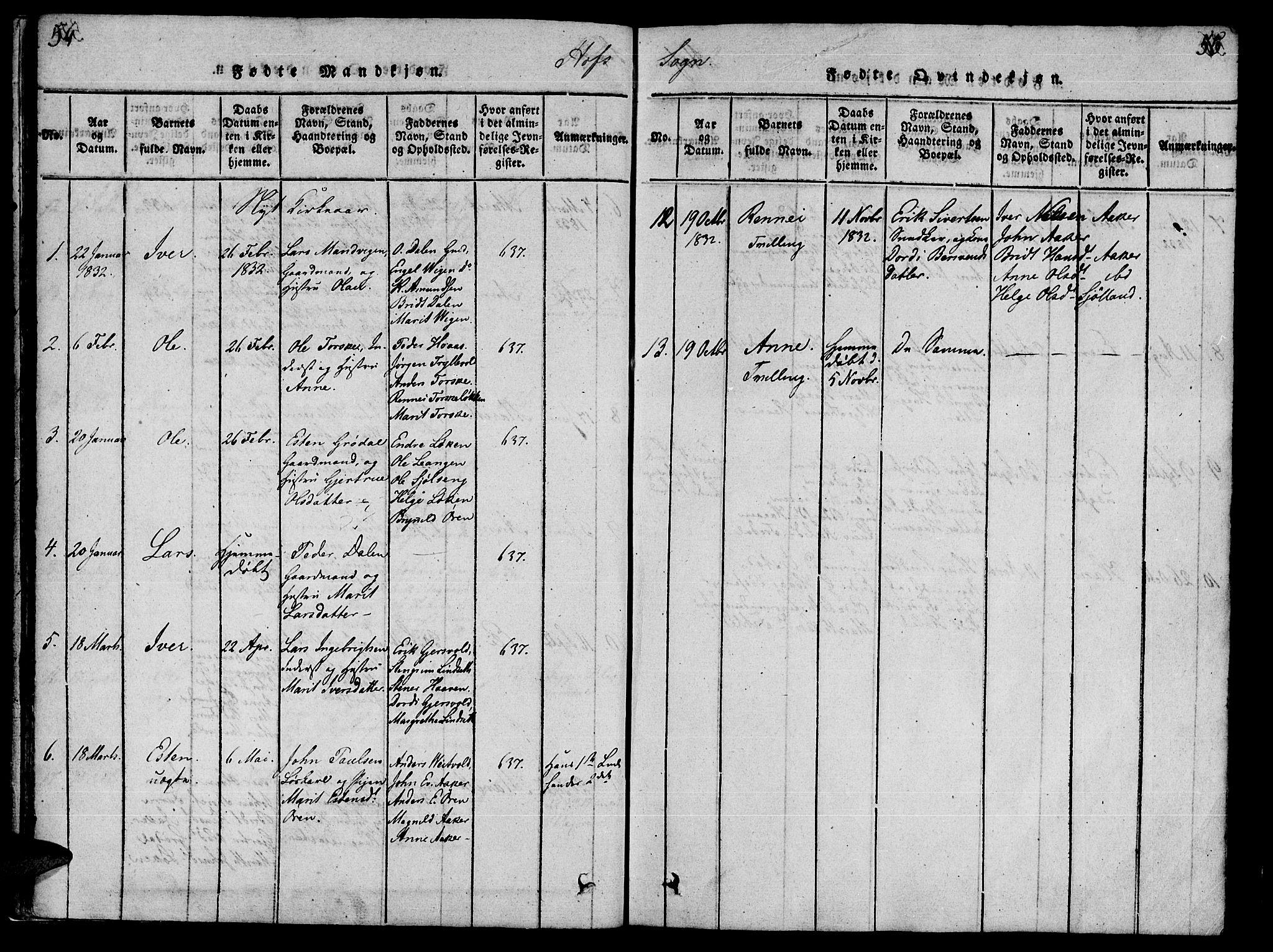 SAT, Ministerialprotokoller, klokkerbøker og fødselsregistre - Møre og Romsdal, 590/L1009: Ministerialbok nr. 590A03 /1, 1819-1832, s. 54-55
