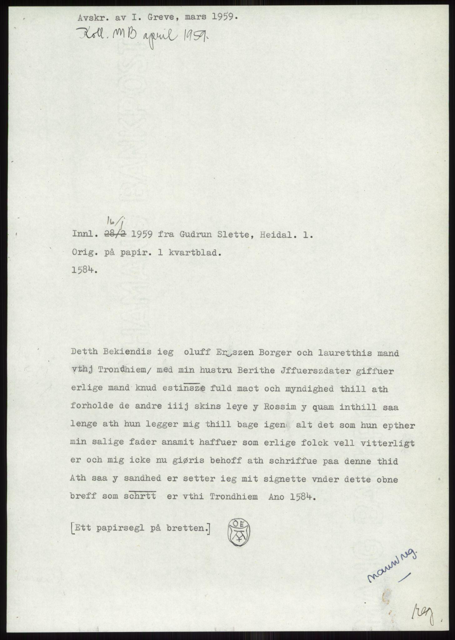 RA, Samlinger til kildeutgivelse, Diplomavskriftsamlingen, s. 2