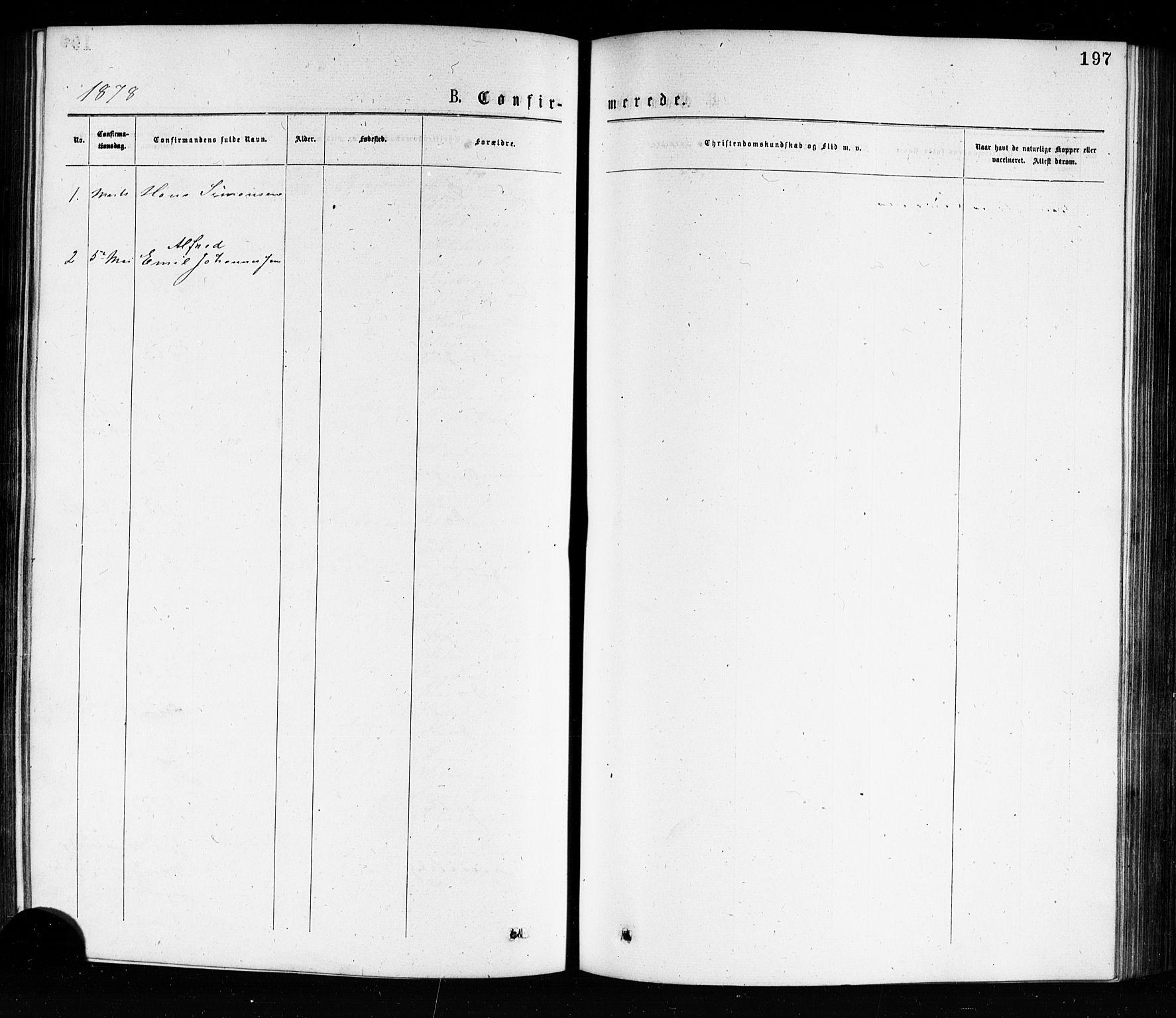 SAKO, Porsgrunn kirkebøker , G/Ga/L0003: Klokkerbok nr. I 3, 1877-1915, s. 197