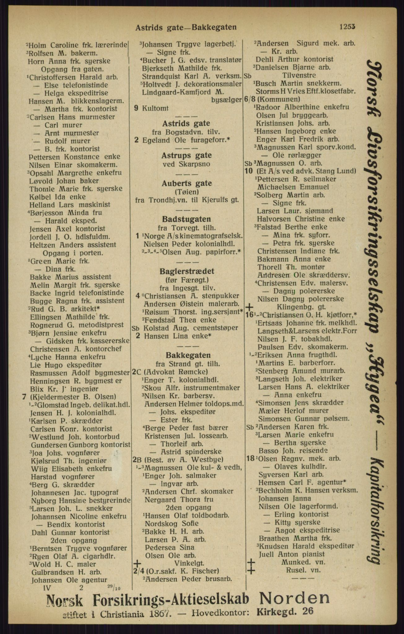 RA, Kristiania adressebok (publikasjon)*, 1916, s. 1253