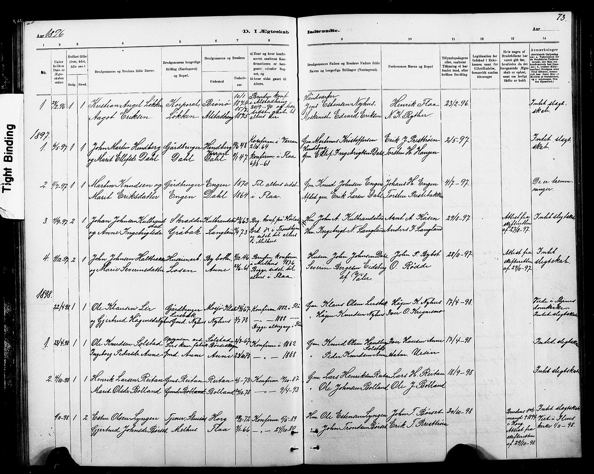 SAT, Ministerialprotokoller, klokkerbøker og fødselsregistre - Sør-Trøndelag, 693/L1123: Klokkerbok nr. 693C04, 1887-1910, s. 73