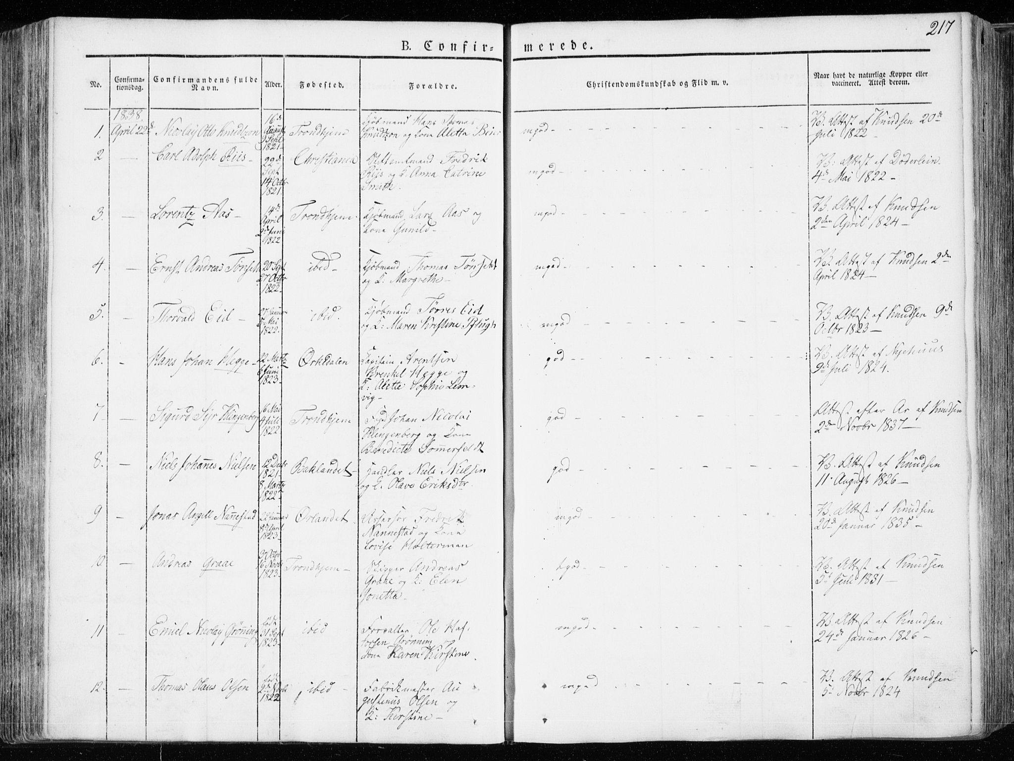 SAT, Ministerialprotokoller, klokkerbøker og fødselsregistre - Sør-Trøndelag, 601/L0047: Ministerialbok nr. 601A15, 1831-1839, s. 217