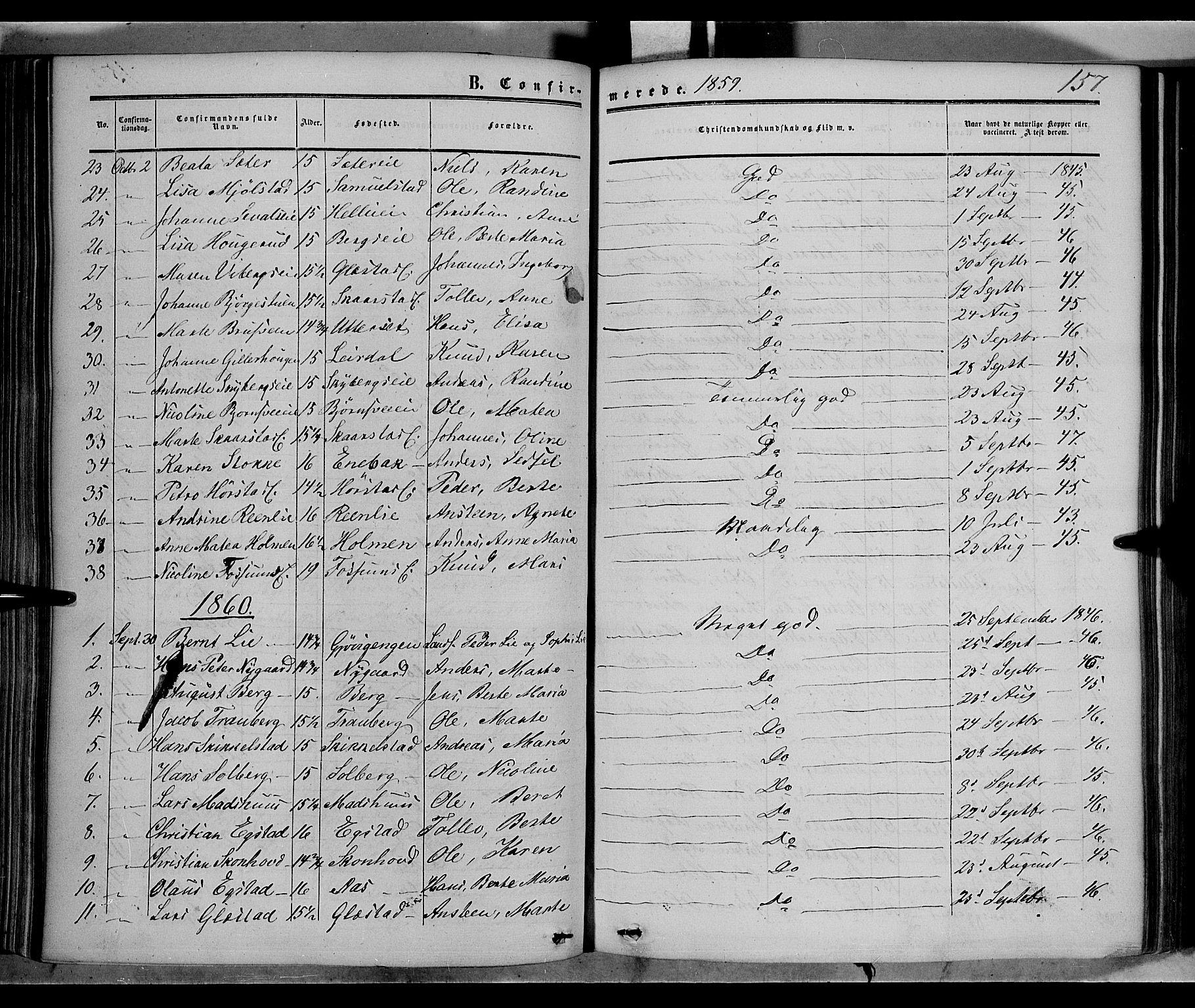 SAH, Vardal prestekontor, H/Ha/Haa/L0006: Ministerialbok nr. 6, 1854-1866, s. 157