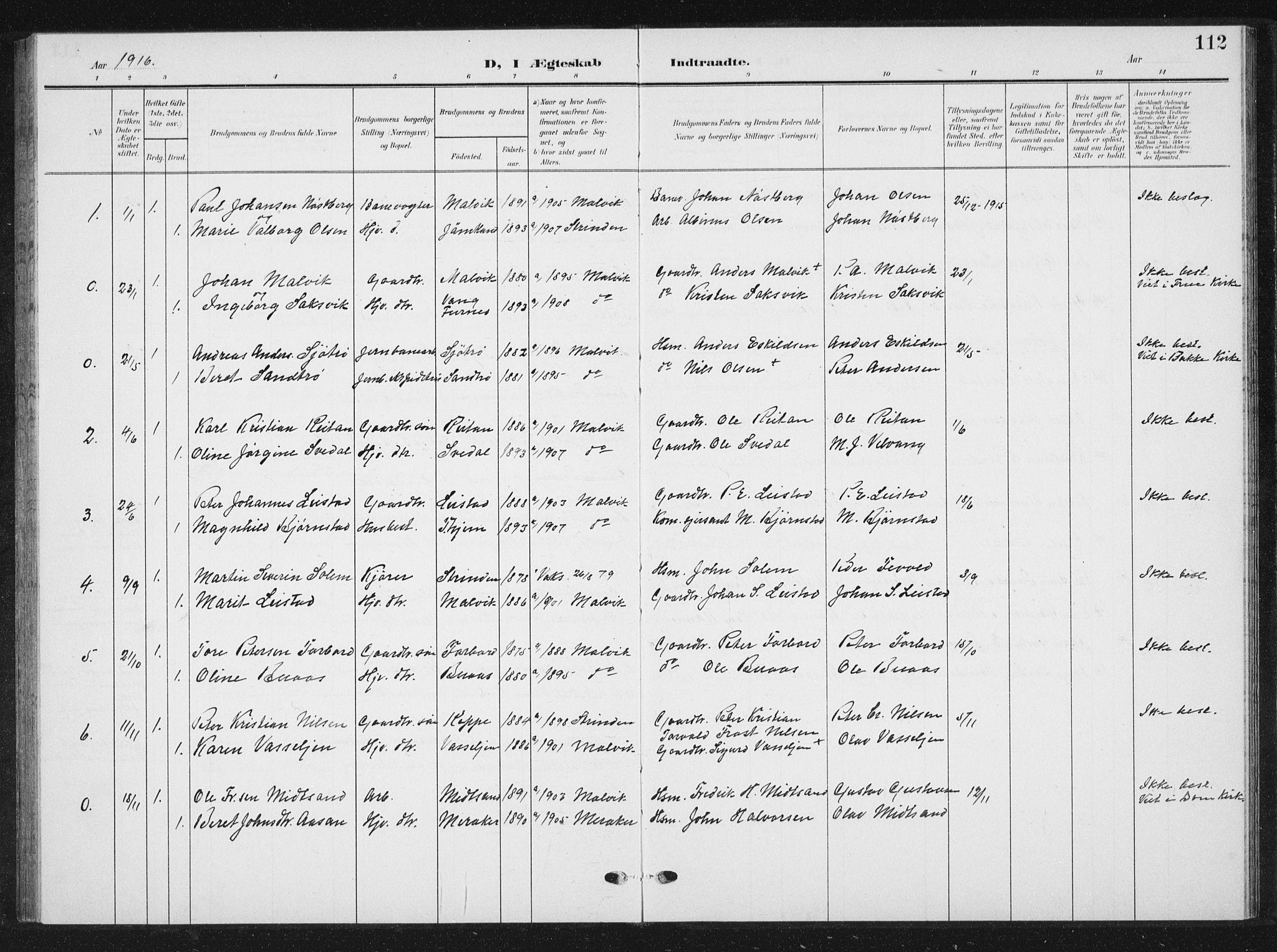 SAT, Ministerialprotokoller, klokkerbøker og fødselsregistre - Sør-Trøndelag, 616/L0424: Klokkerbok nr. 616C07, 1904-1940, s. 112