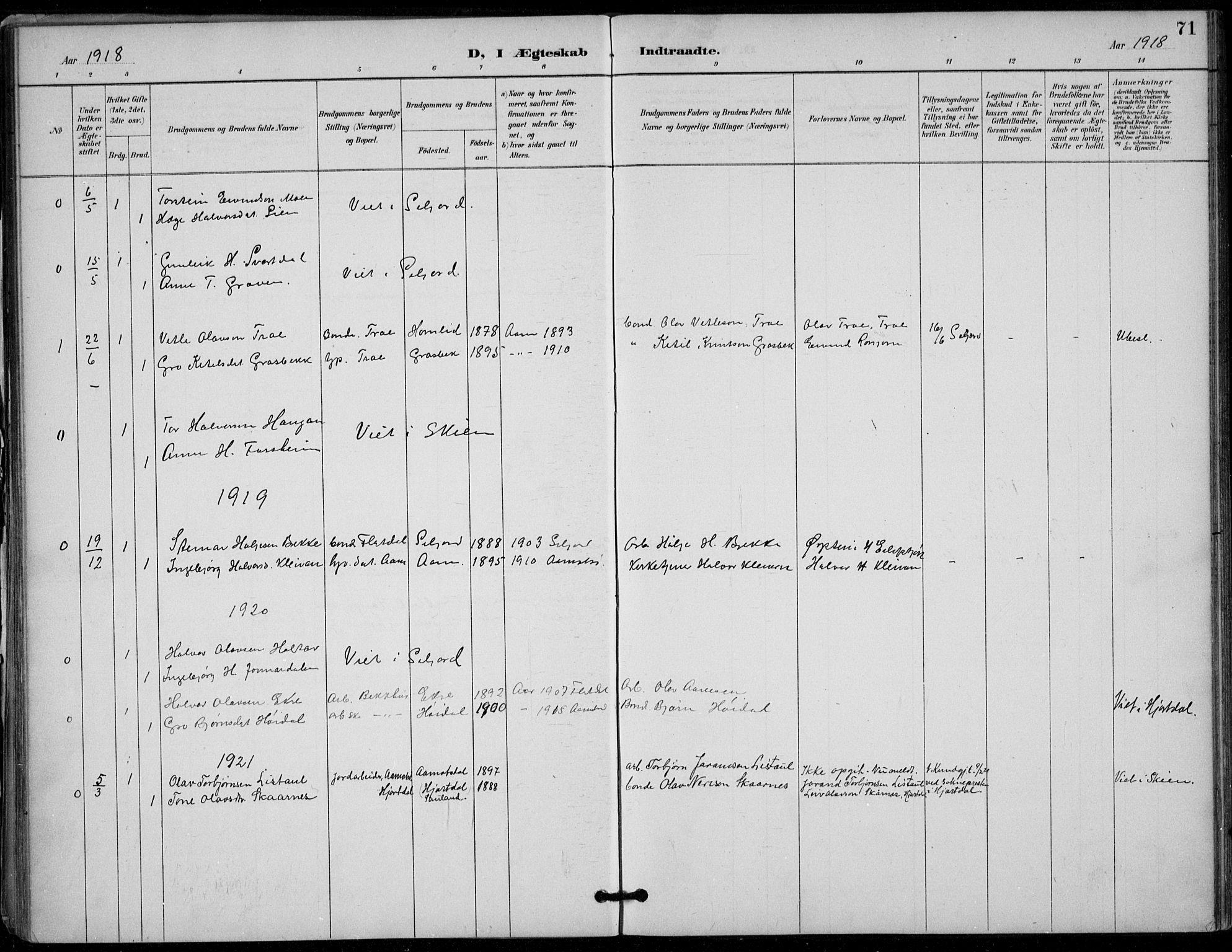 SAKO, Seljord kirkebøker, F/Fc/L0002: Ministerialbok nr. III 2, 1887-1920, s. 71