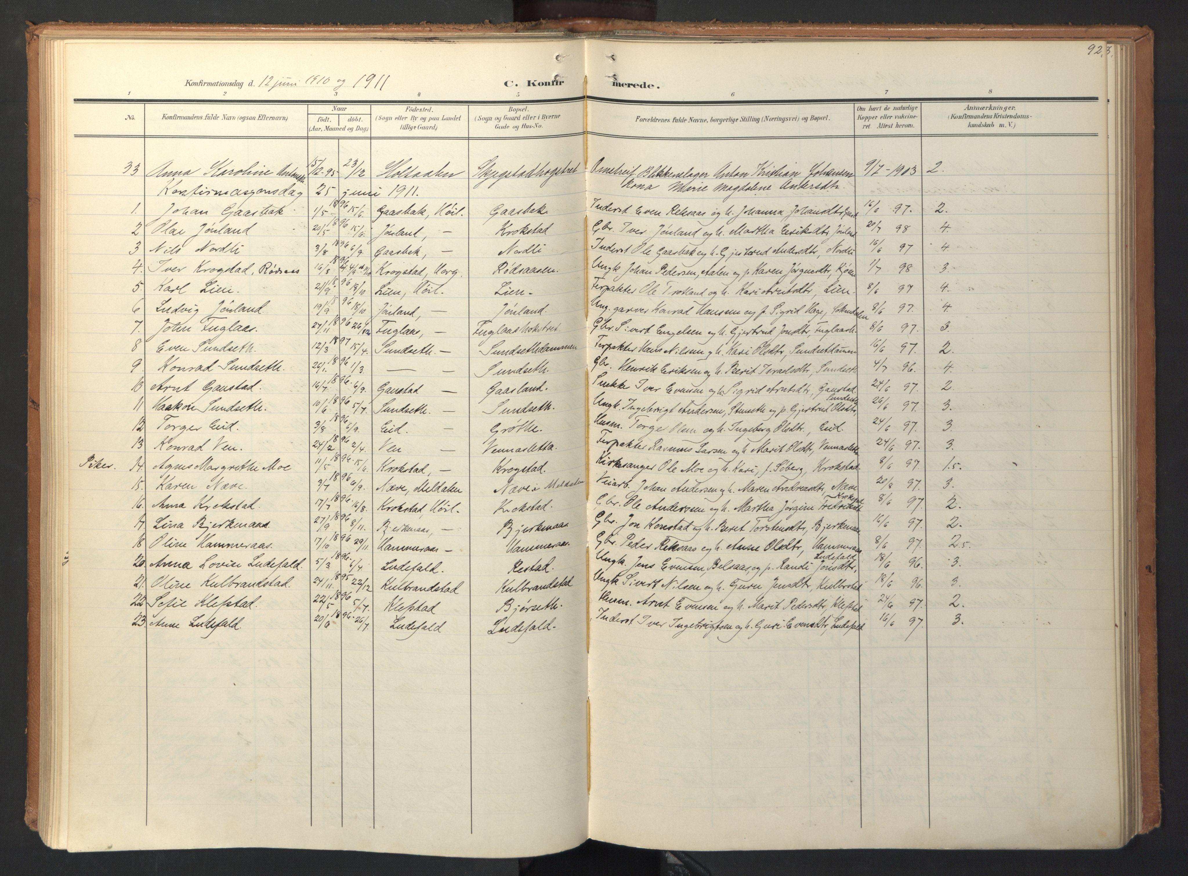 SAT, Ministerialprotokoller, klokkerbøker og fødselsregistre - Sør-Trøndelag, 694/L1128: Ministerialbok nr. 694A02, 1906-1931, s. 92