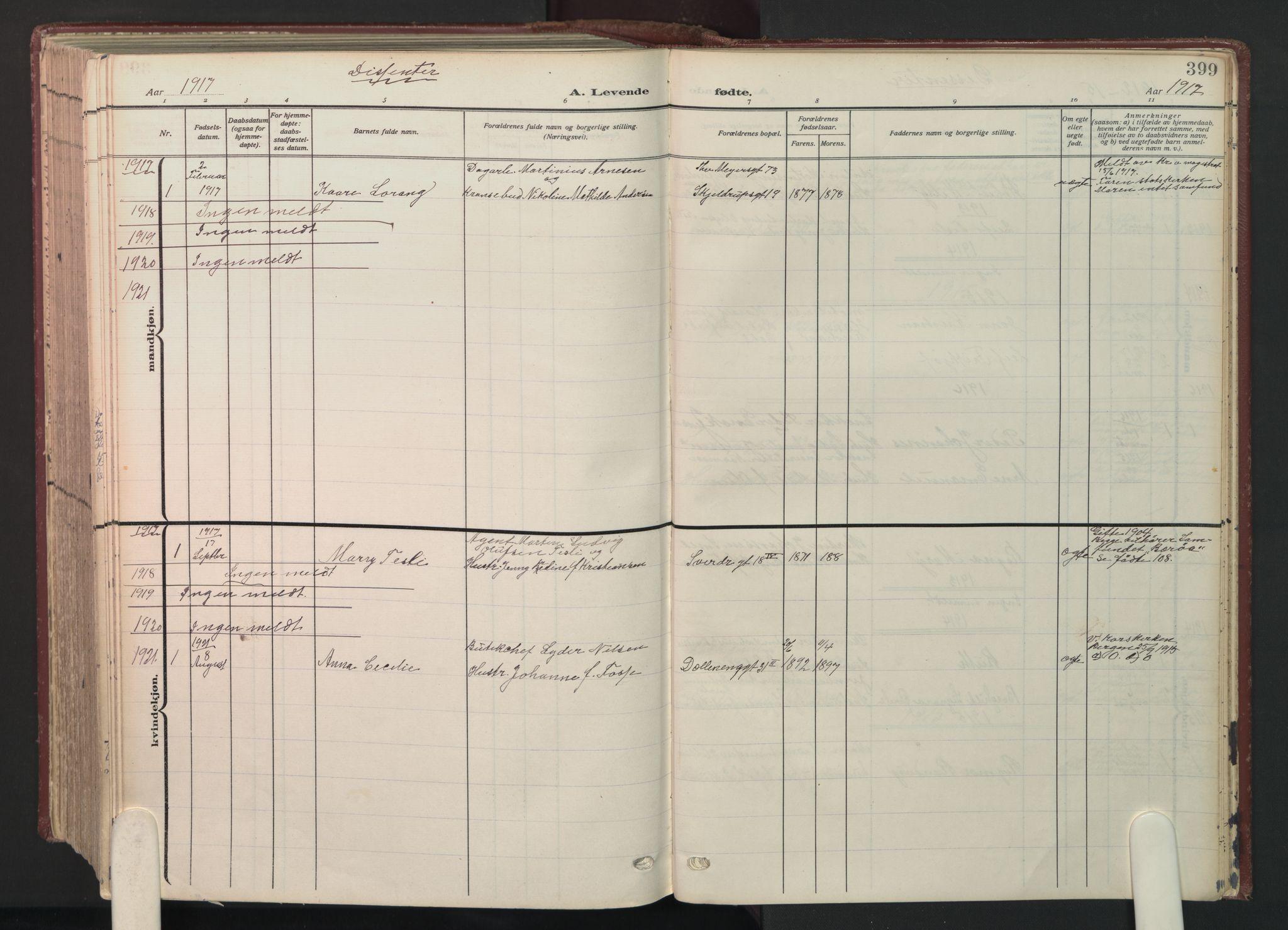 SAO, Petrus prestekontor Kirkebøker, F/Fa/L0012: Ministerialbok nr. 12, 1909-1936, s. 399