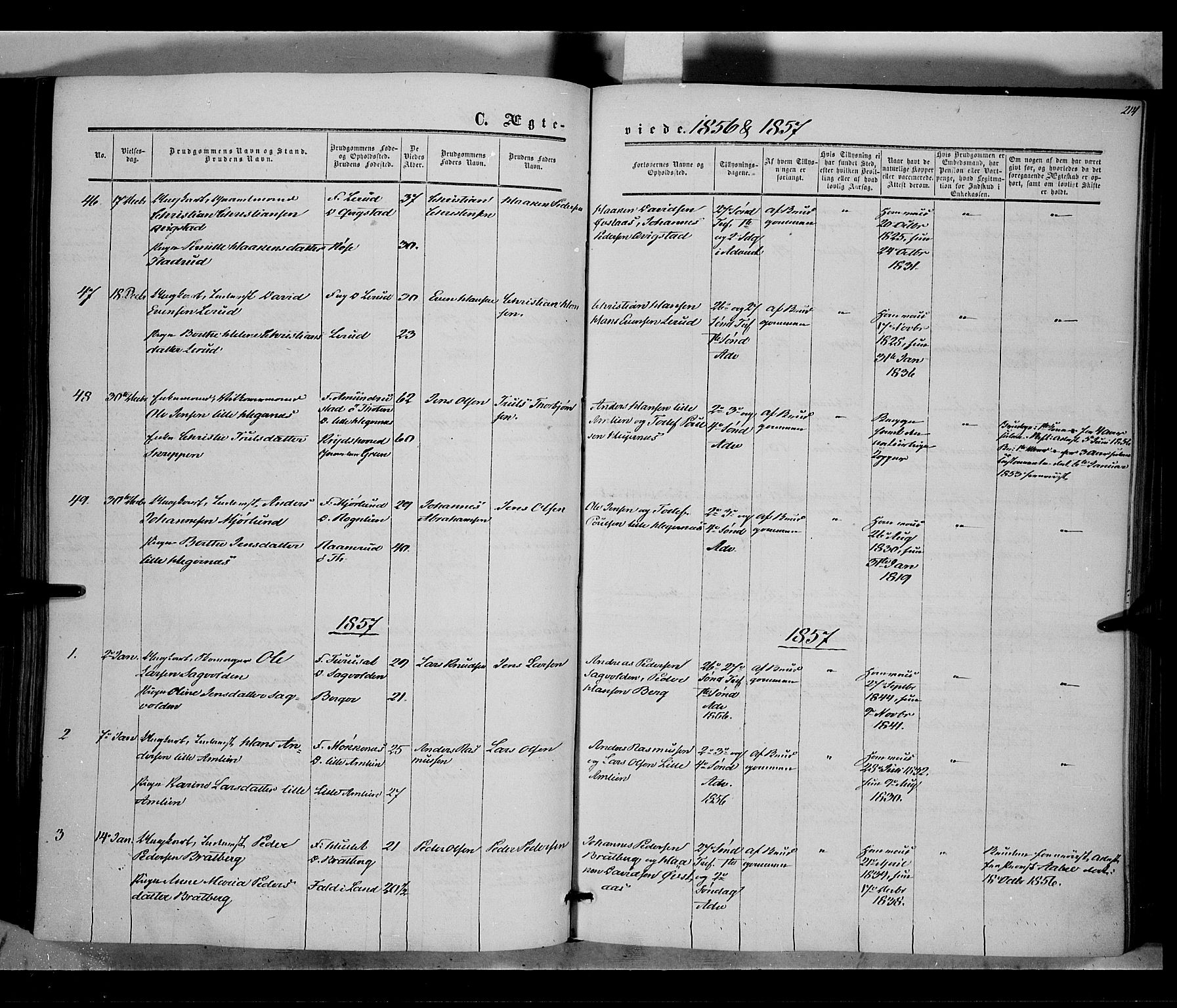 SAH, Vestre Toten prestekontor, H/Ha/Haa/L0006: Ministerialbok nr. 6, 1856-1861, s. 214