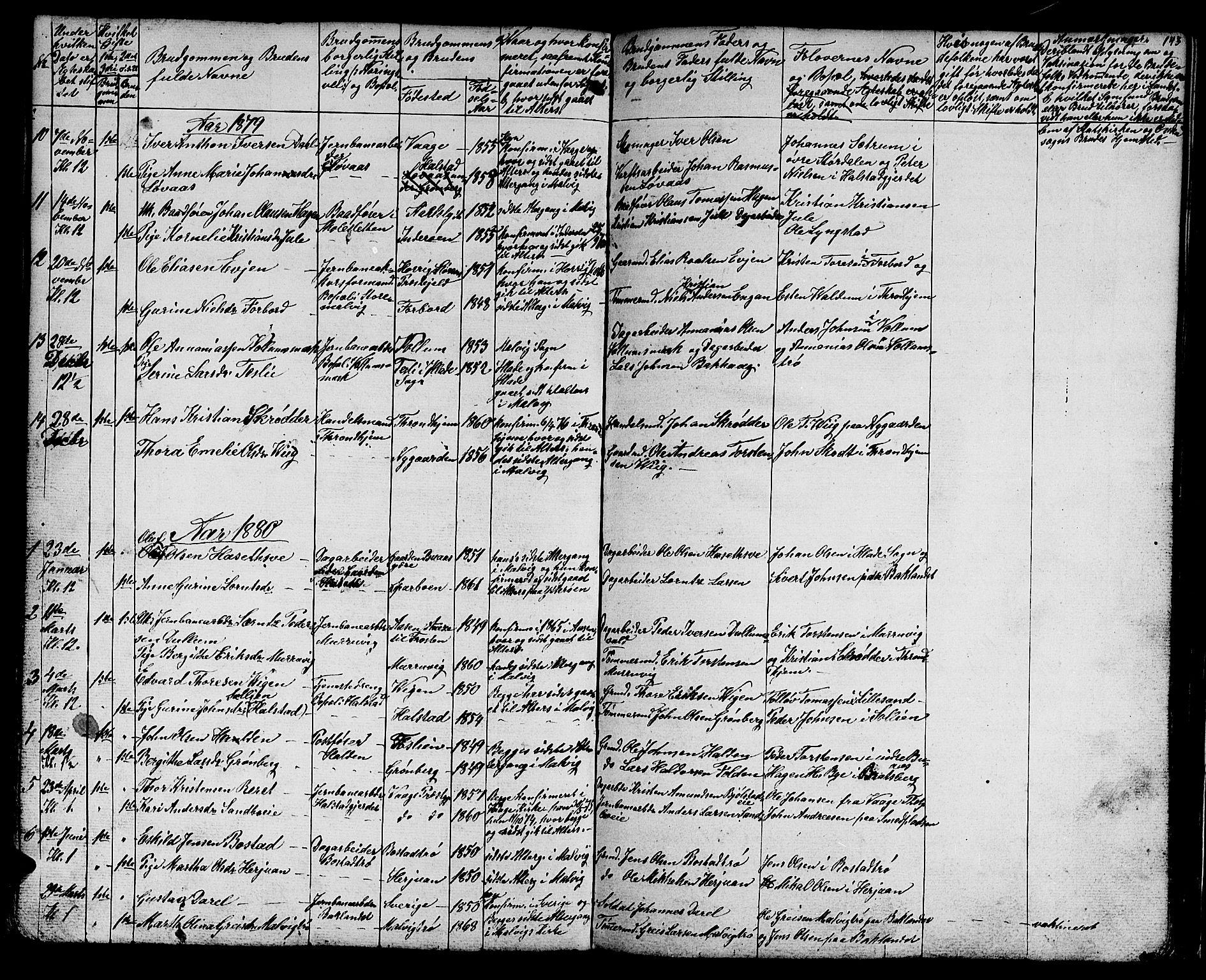 SAT, Ministerialprotokoller, klokkerbøker og fødselsregistre - Sør-Trøndelag, 616/L0422: Klokkerbok nr. 616C05, 1850-1888, s. 143