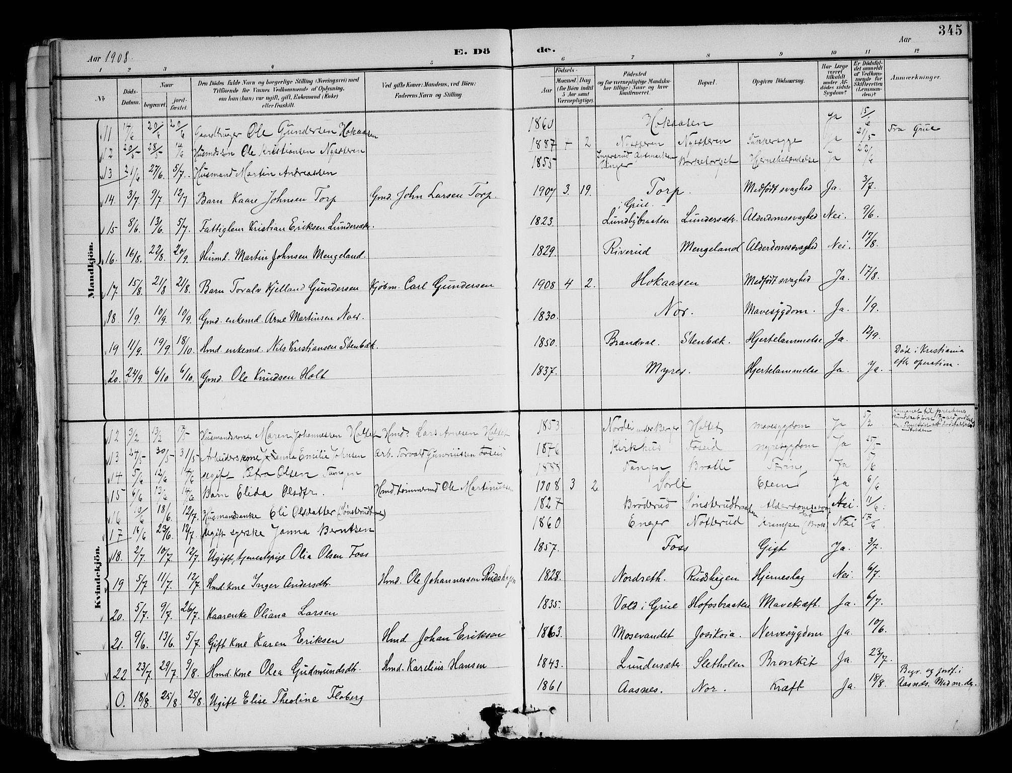 SAH, Brandval prestekontor, H/Ha/Haa/L0003: Ministerialbok nr. 3, 1894-1909, s. 345