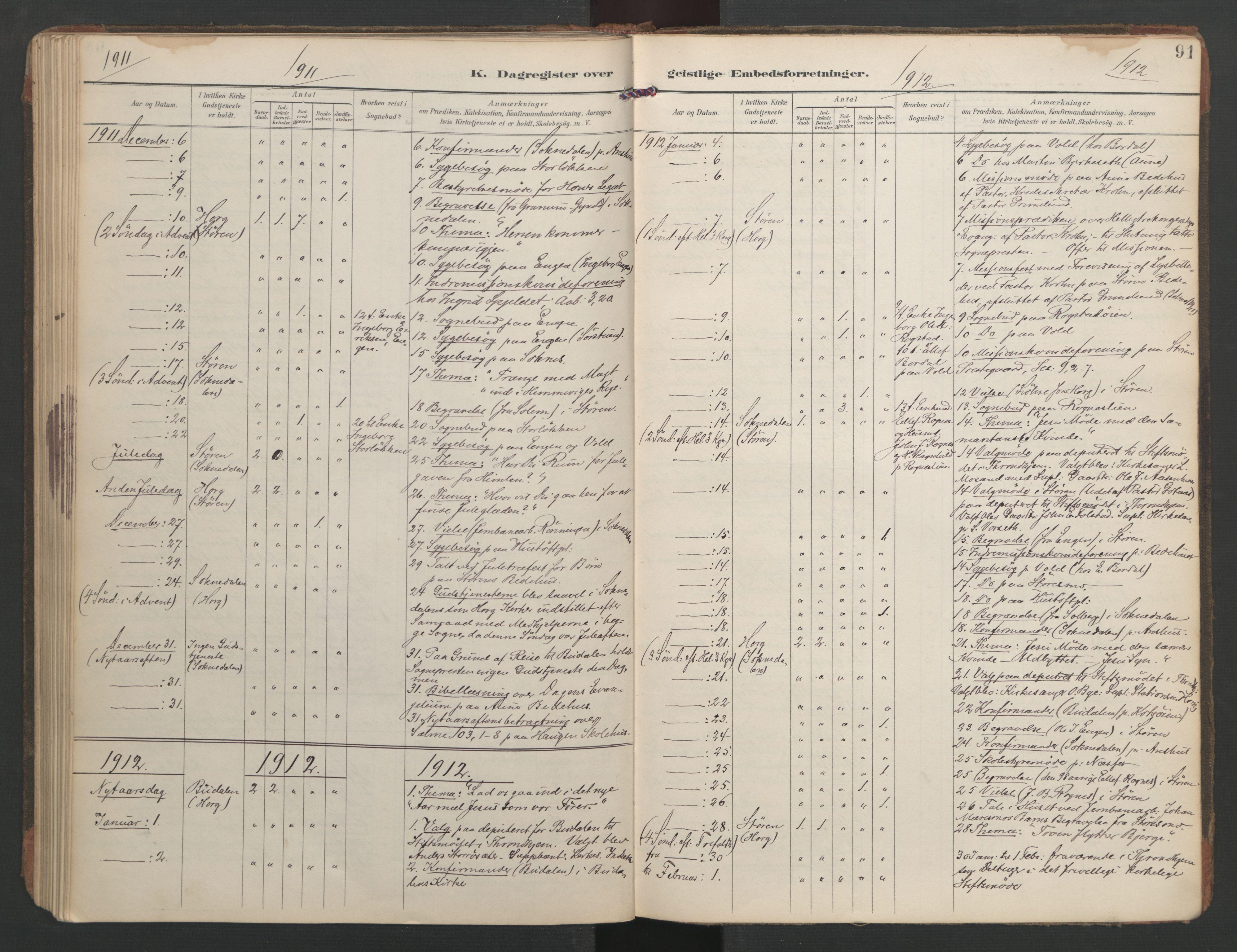 SAT, Ministerialprotokoller, klokkerbøker og fødselsregistre - Sør-Trøndelag, 687/L1005: Dagregister nr. 687A11, 1891-1912, s. 91