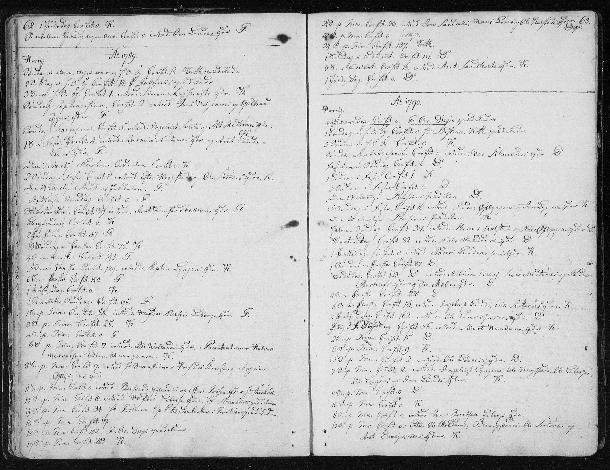 SAT, Ministerialprotokoller, klokkerbøker og fødselsregistre - Sør-Trøndelag, 687/L0993: Ministerialbok nr. 687A03 /2, 1788-1815, s. 62-63