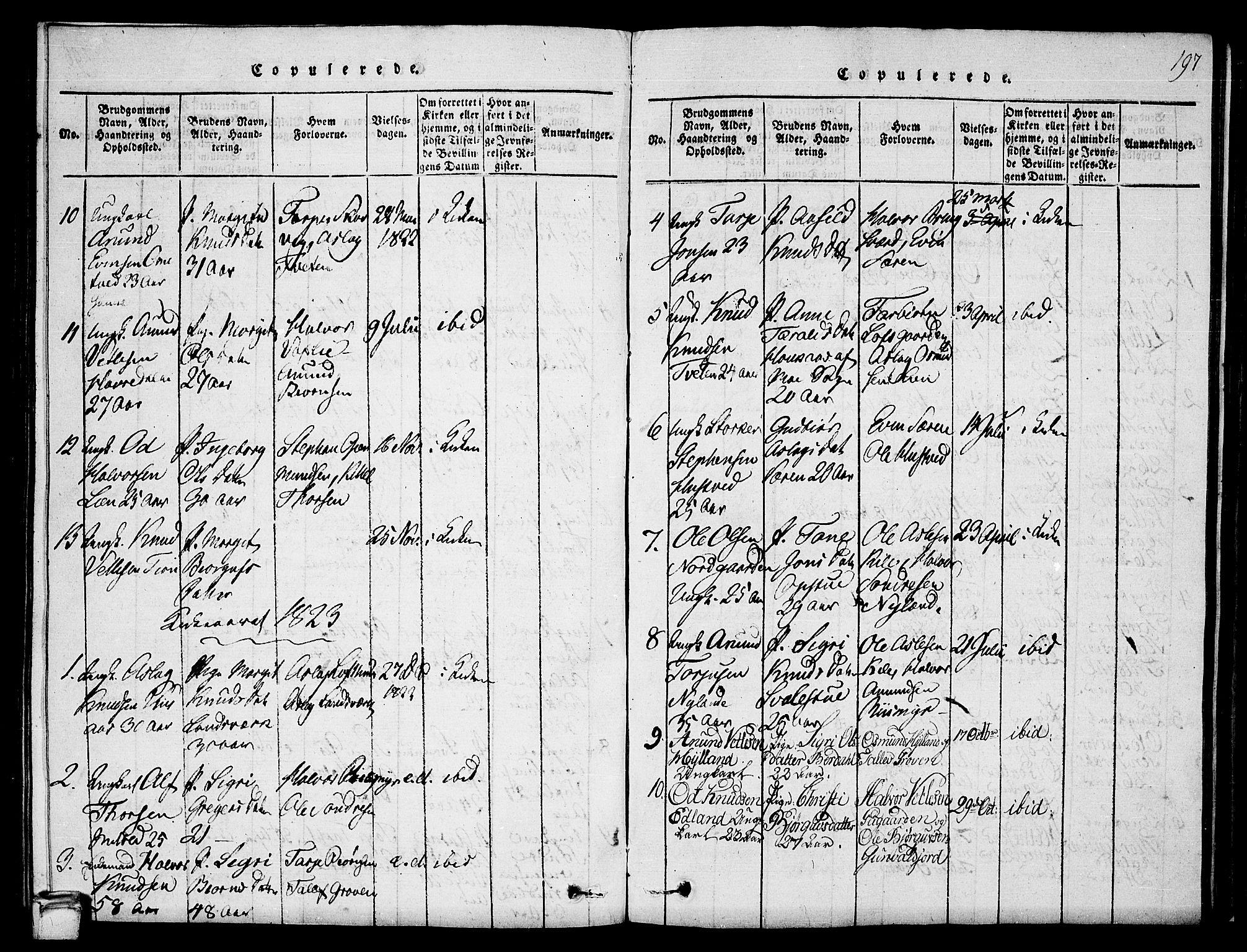 SAKO, Vinje kirkebøker, G/Ga/L0001: Klokkerbok nr. I 1, 1814-1843, s. 197