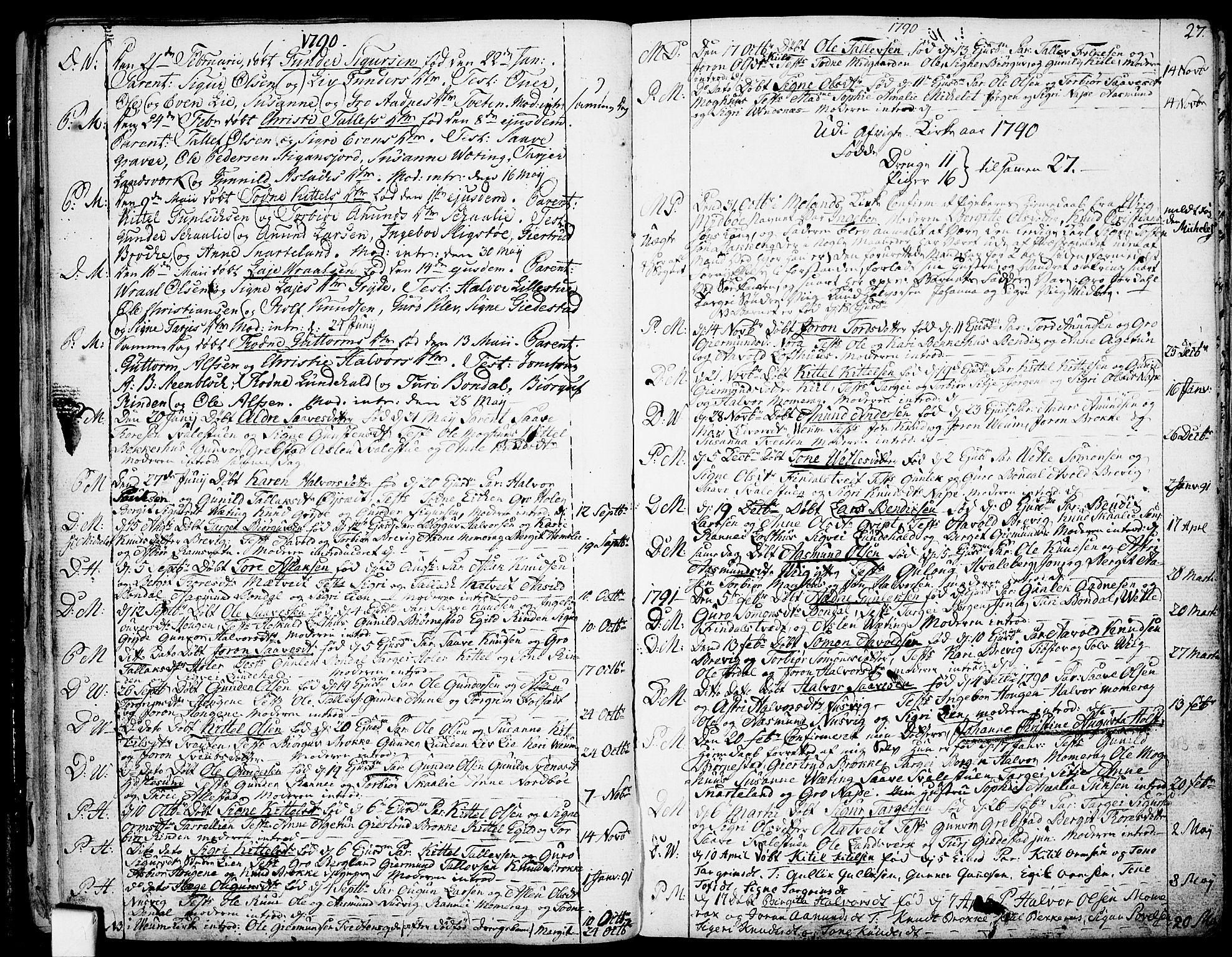 SAKO, Fyresdal kirkebøker, F/Fa/L0002: Ministerialbok nr. I 2, 1769-1814, s. 27