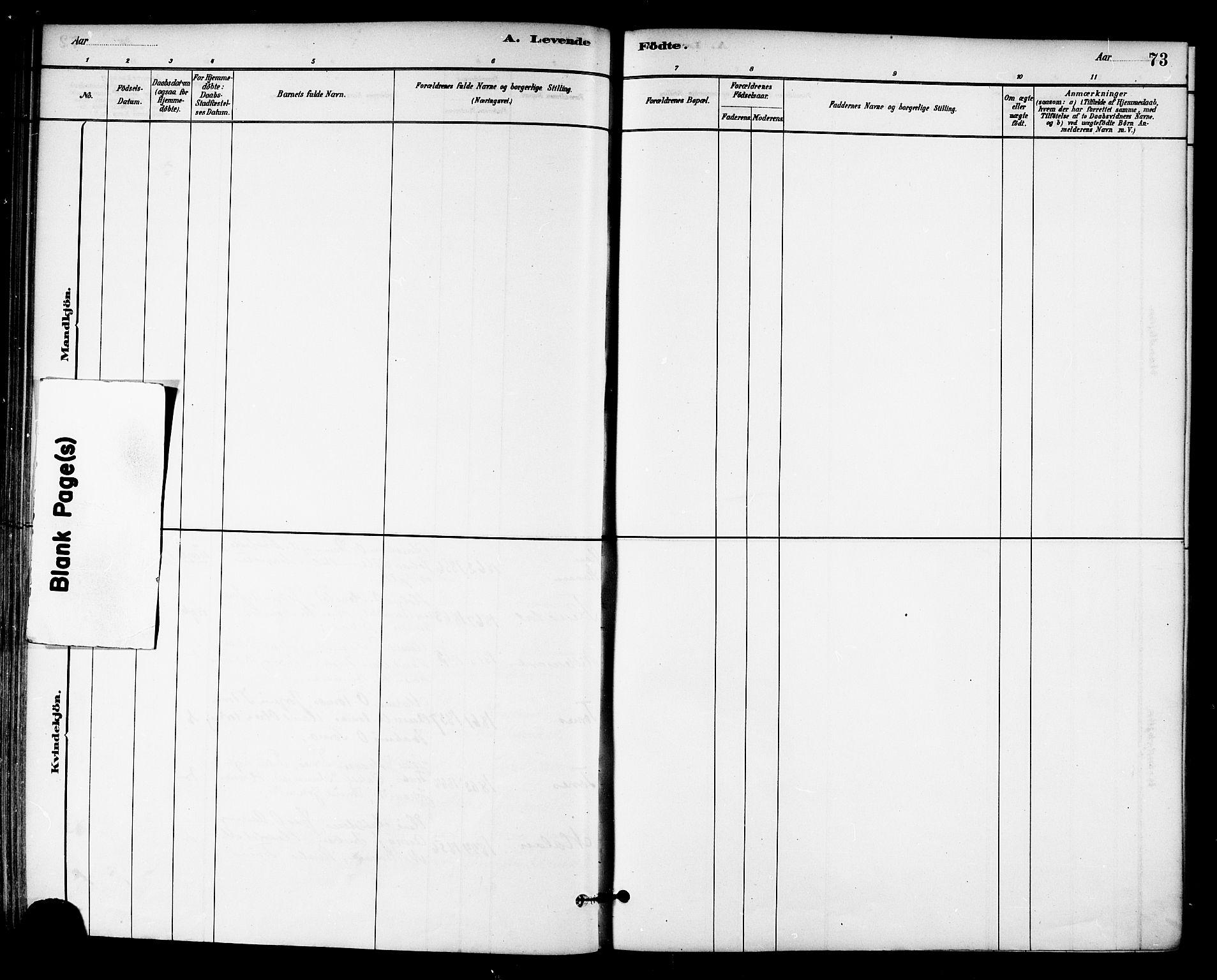 SAT, Ministerialprotokoller, klokkerbøker og fødselsregistre - Sør-Trøndelag, 655/L0680: Ministerialbok nr. 655A09, 1880-1894, s. 73