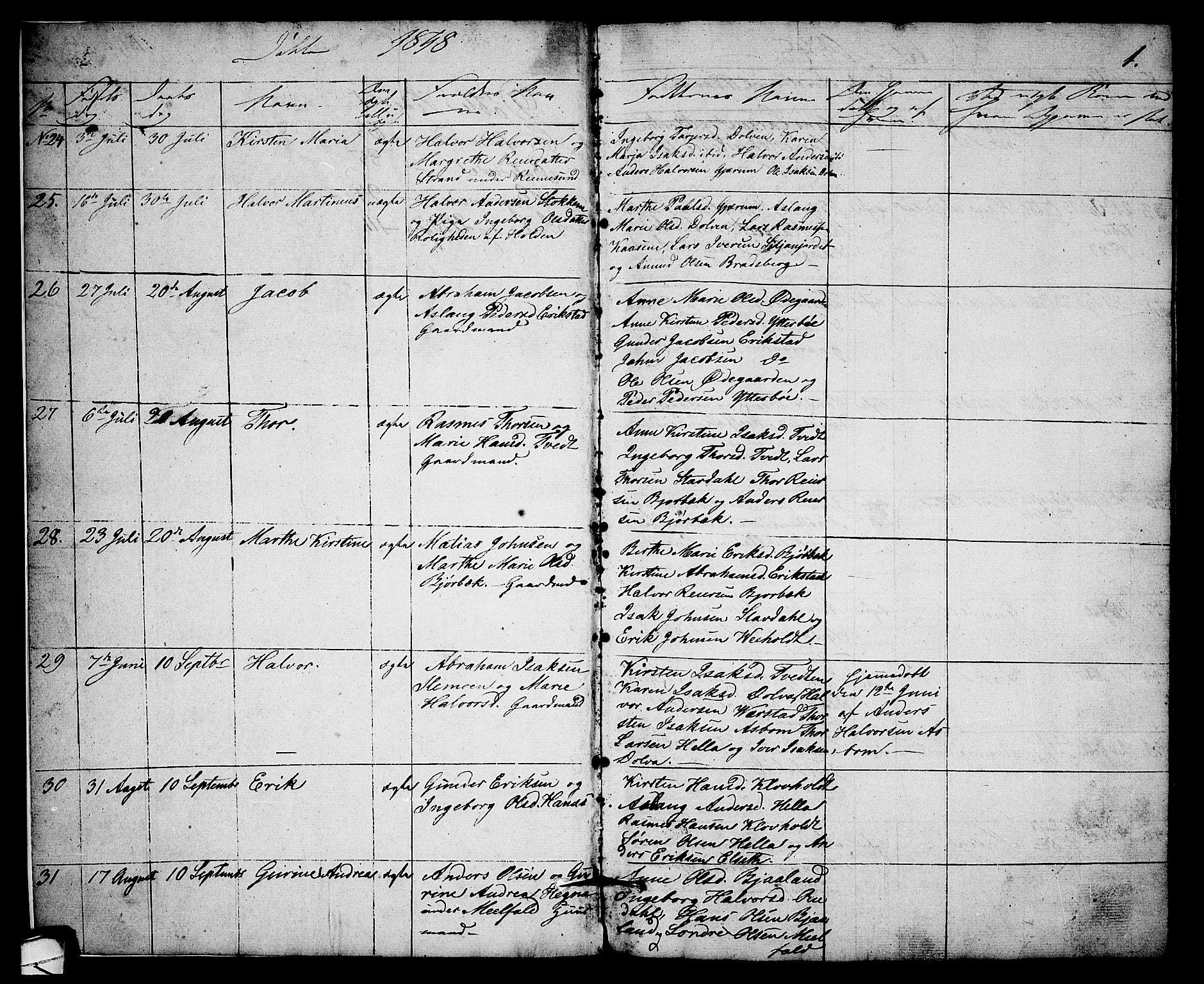SAKO, Solum kirkebøker, G/Gb/L0001: Klokkerbok nr. II 1, 1848-1859, s. 1