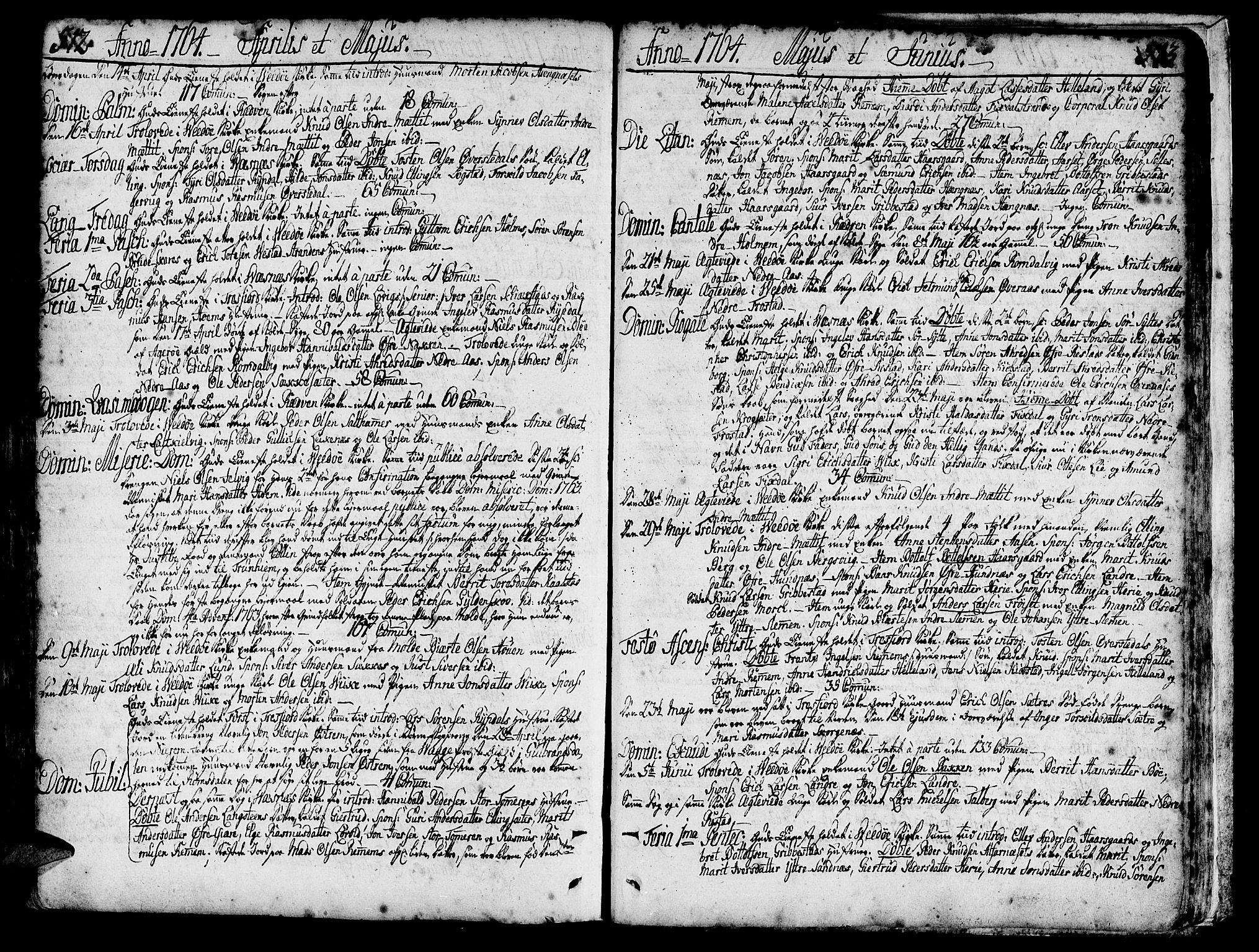 SAT, Ministerialprotokoller, klokkerbøker og fødselsregistre - Møre og Romsdal, 547/L0599: Ministerialbok nr. 547A01, 1721-1764, s. 512-513