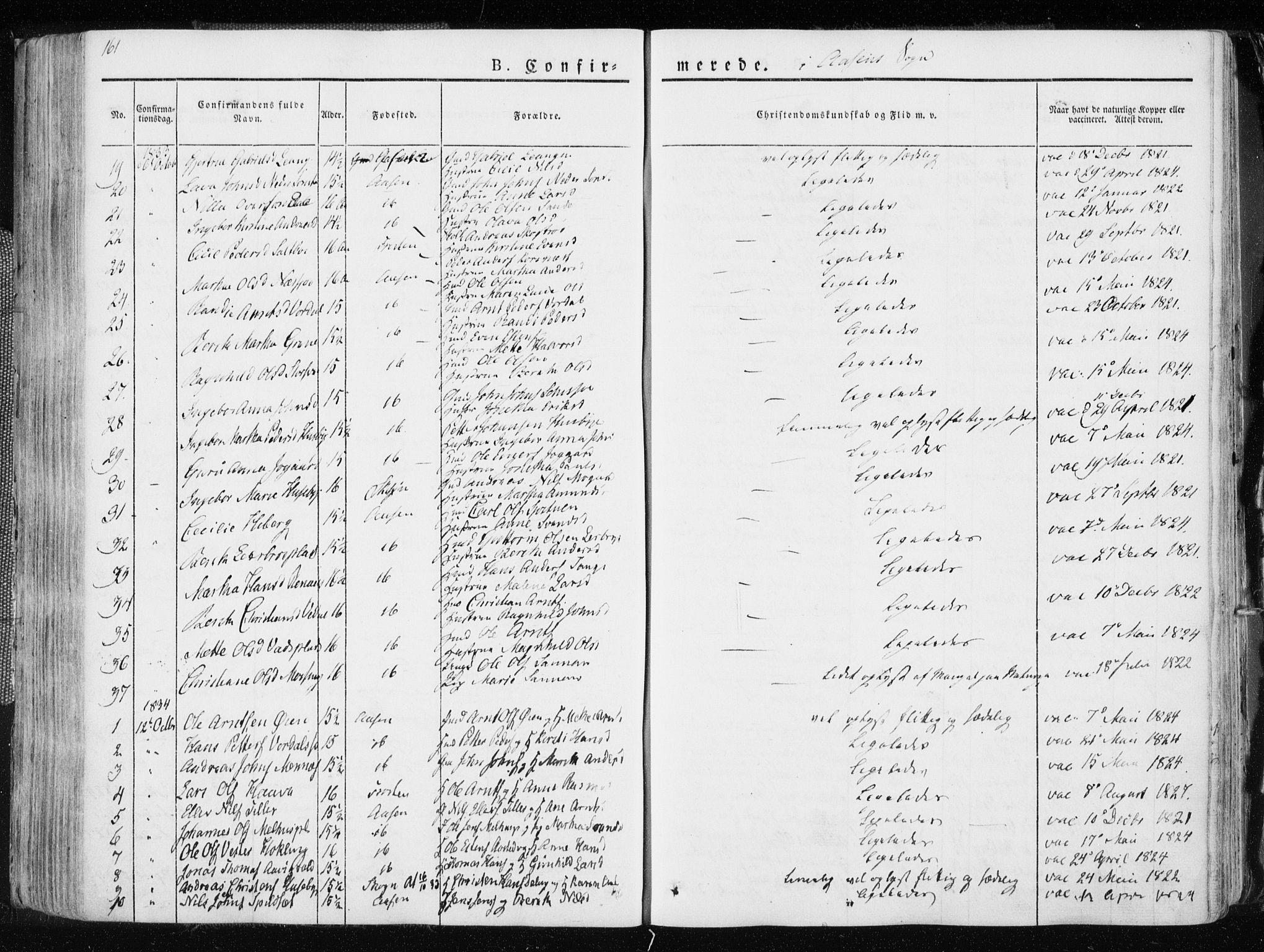 SAT, Ministerialprotokoller, klokkerbøker og fødselsregistre - Nord-Trøndelag, 713/L0114: Ministerialbok nr. 713A05, 1827-1839, s. 161