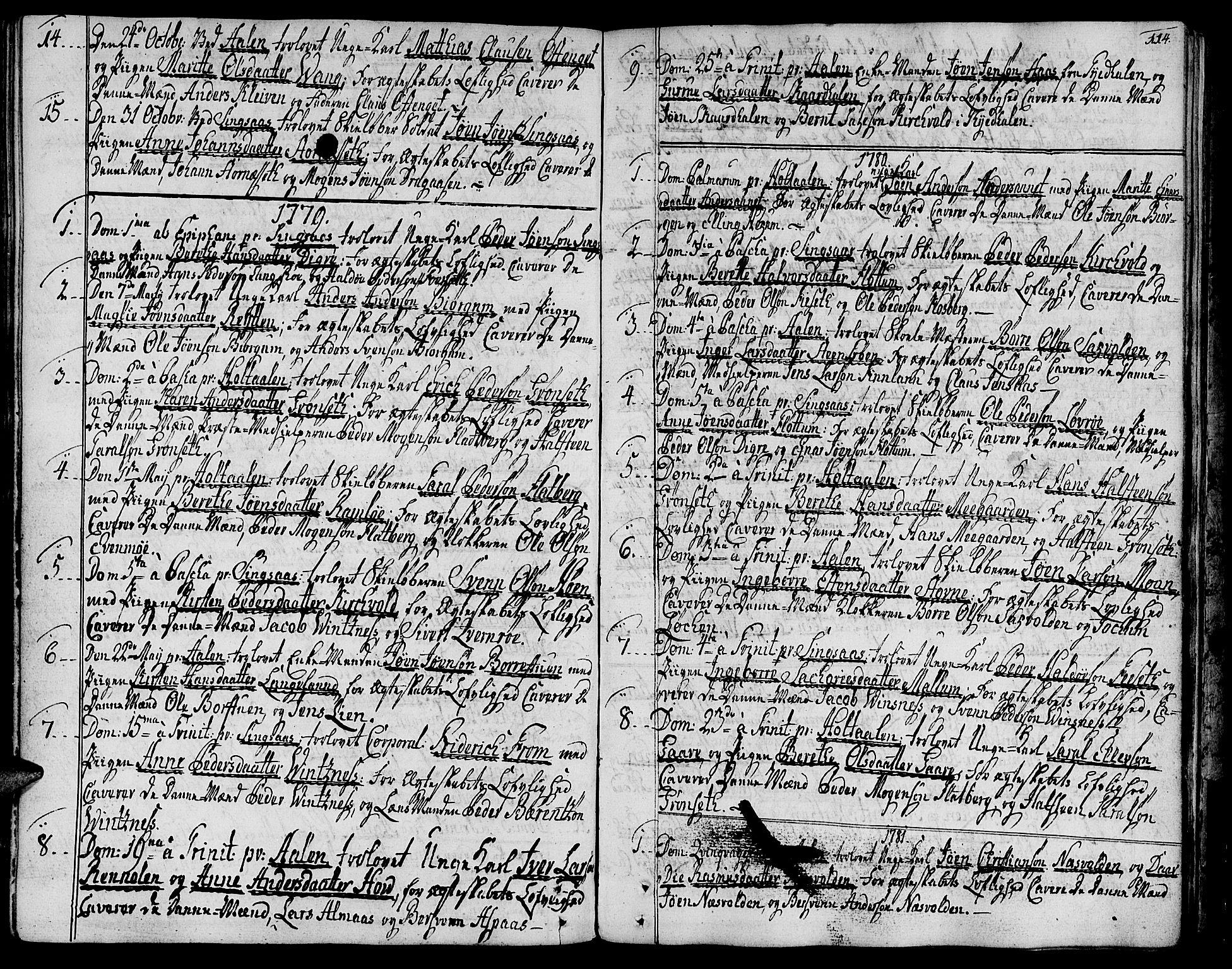 SAT, Ministerialprotokoller, klokkerbøker og fødselsregistre - Sør-Trøndelag, 685/L0952: Ministerialbok nr. 685A01, 1745-1804, s. 114