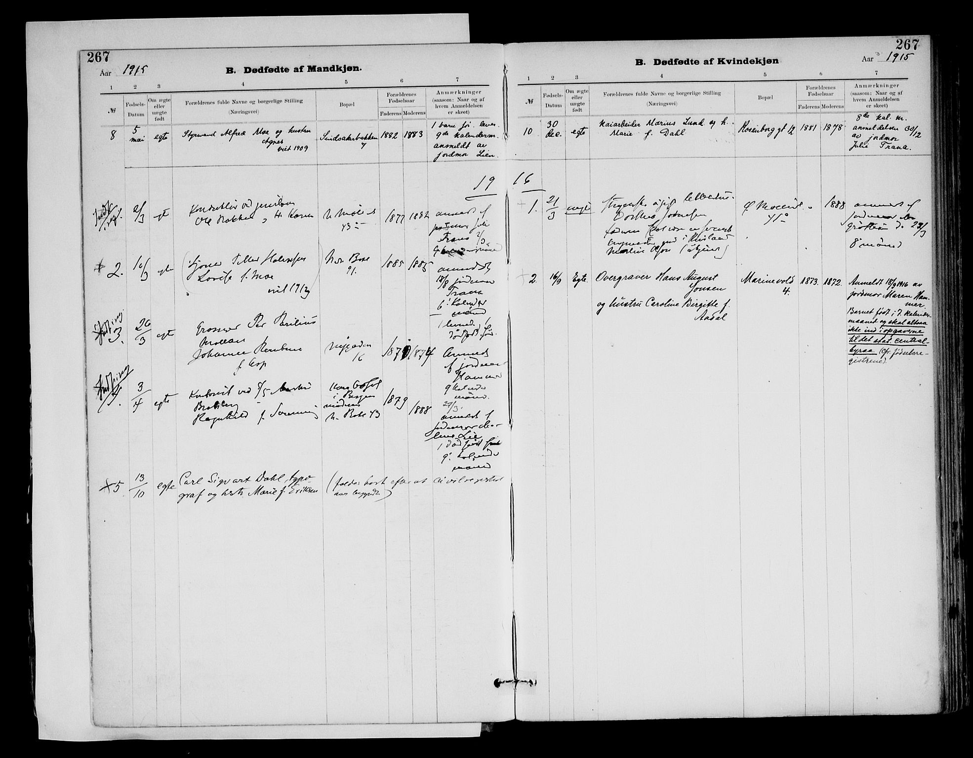 SAT, Ministerialprotokoller, klokkerbøker og fødselsregistre - Sør-Trøndelag, 604/L0203: Ministerialbok nr. 604A23, 1908-1916, s. 267