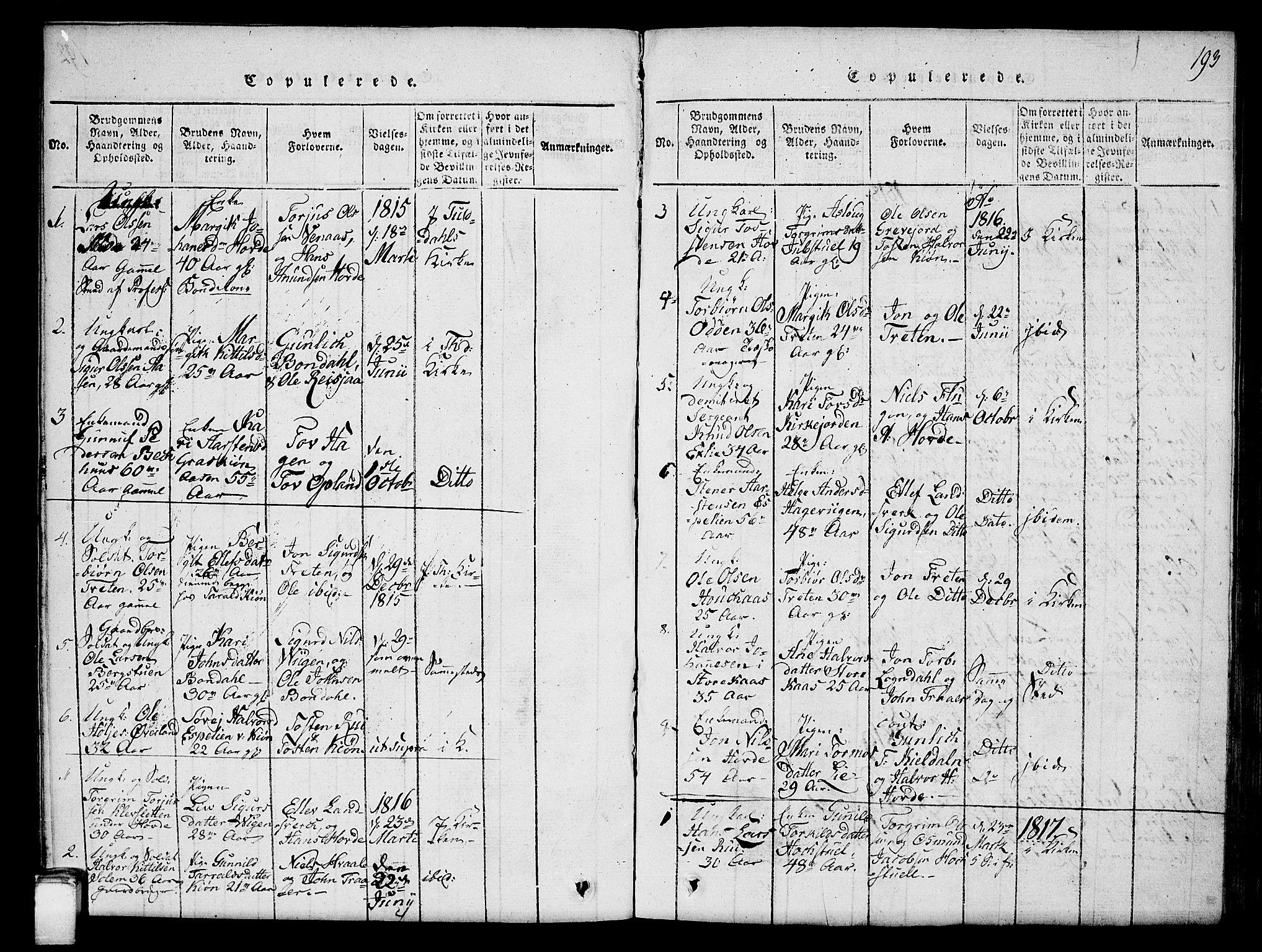 SAKO, Hjartdal kirkebøker, G/Gc/L0001: Klokkerbok nr. III 1, 1815-1842, s. 193