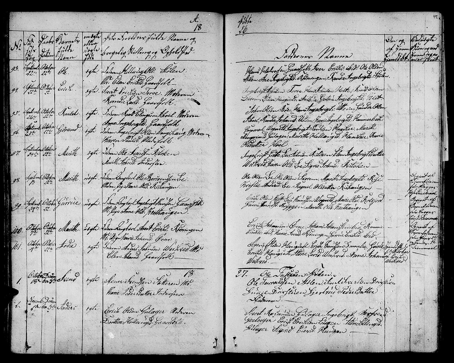 SAT, Ministerialprotokoller, klokkerbøker og fødselsregistre - Sør-Trøndelag, 678/L0897: Ministerialbok nr. 678A06-07, 1821-1847, s. 47