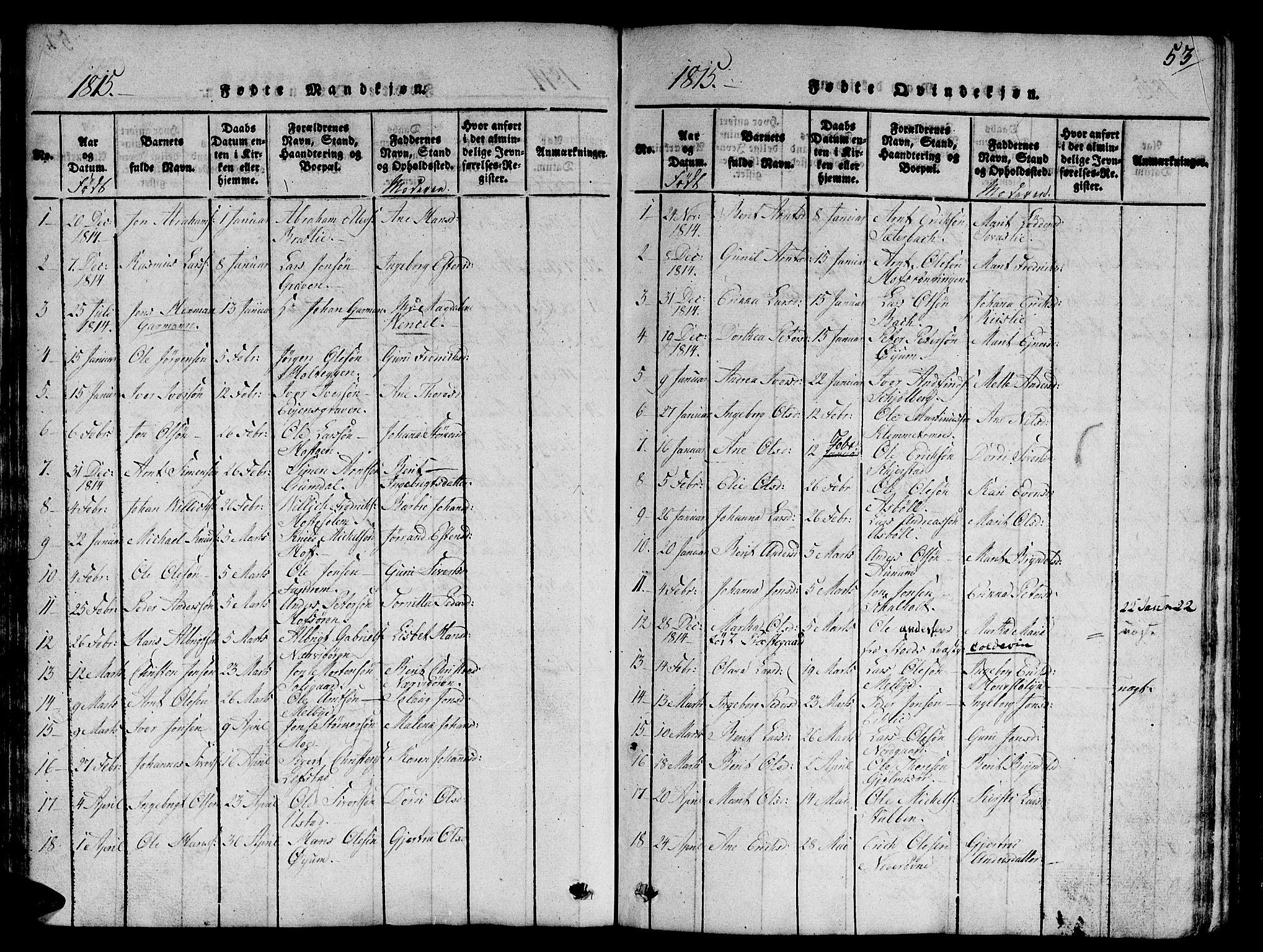 SAT, Ministerialprotokoller, klokkerbøker og fødselsregistre - Sør-Trøndelag, 668/L0803: Ministerialbok nr. 668A03, 1800-1826, s. 53