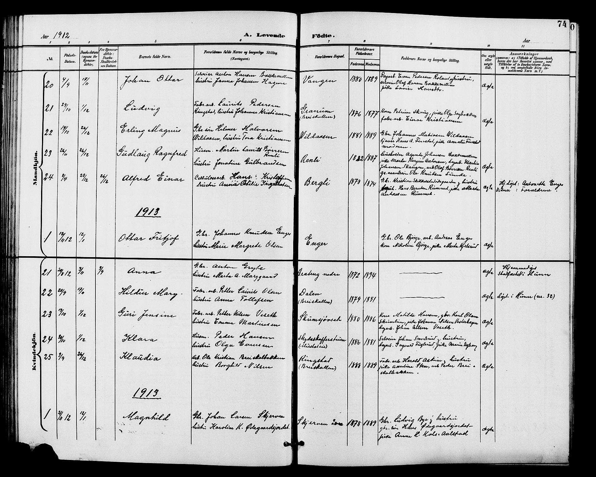 SAH, Vardal prestekontor, H/Ha/Hab/L0011: Klokkerbok nr. 11, 1899-1913, s. 74