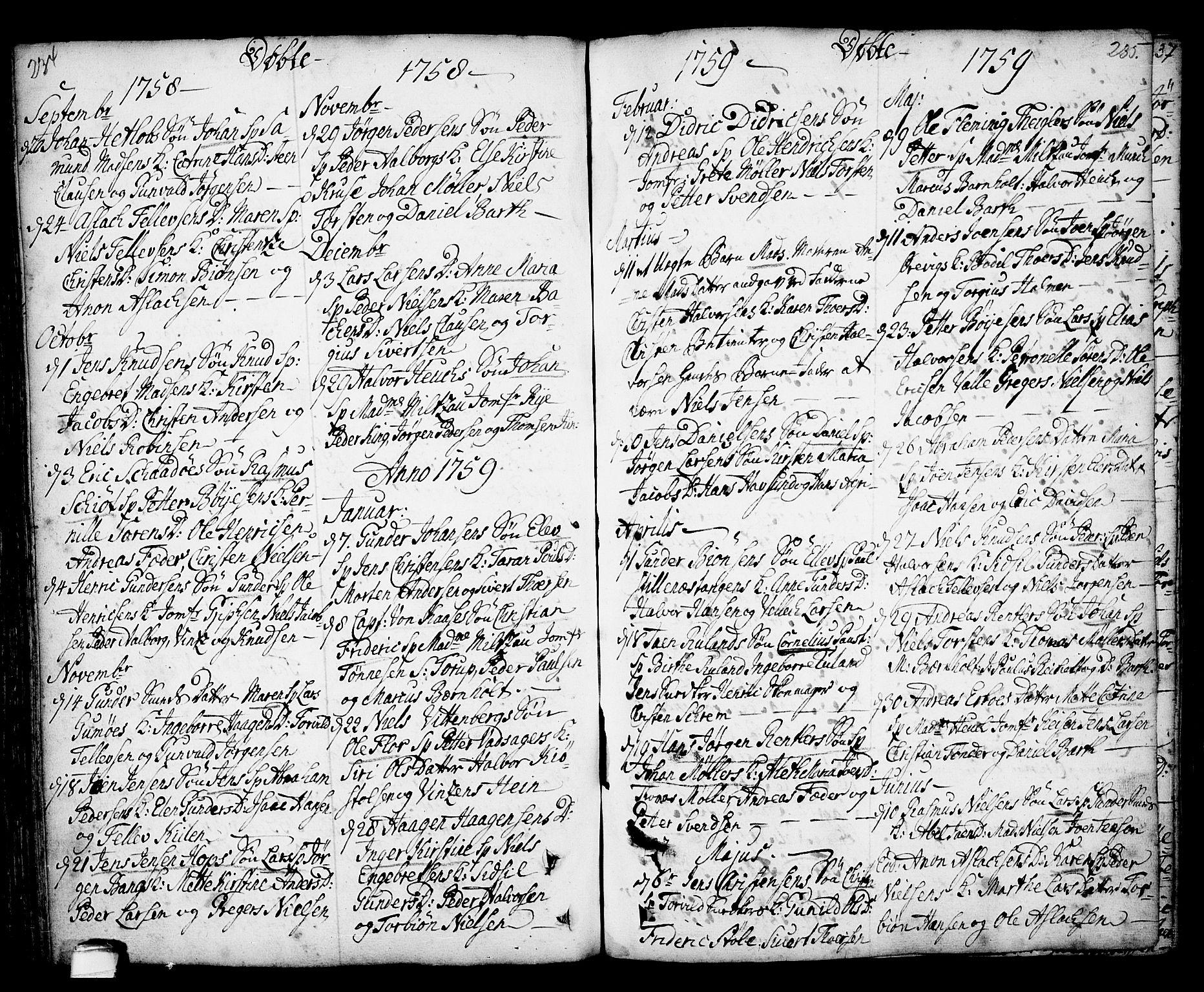 SAKO, Kragerø kirkebøker, F/Fa/L0001: Ministerialbok nr. 1, 1702-1766, s. 234-235